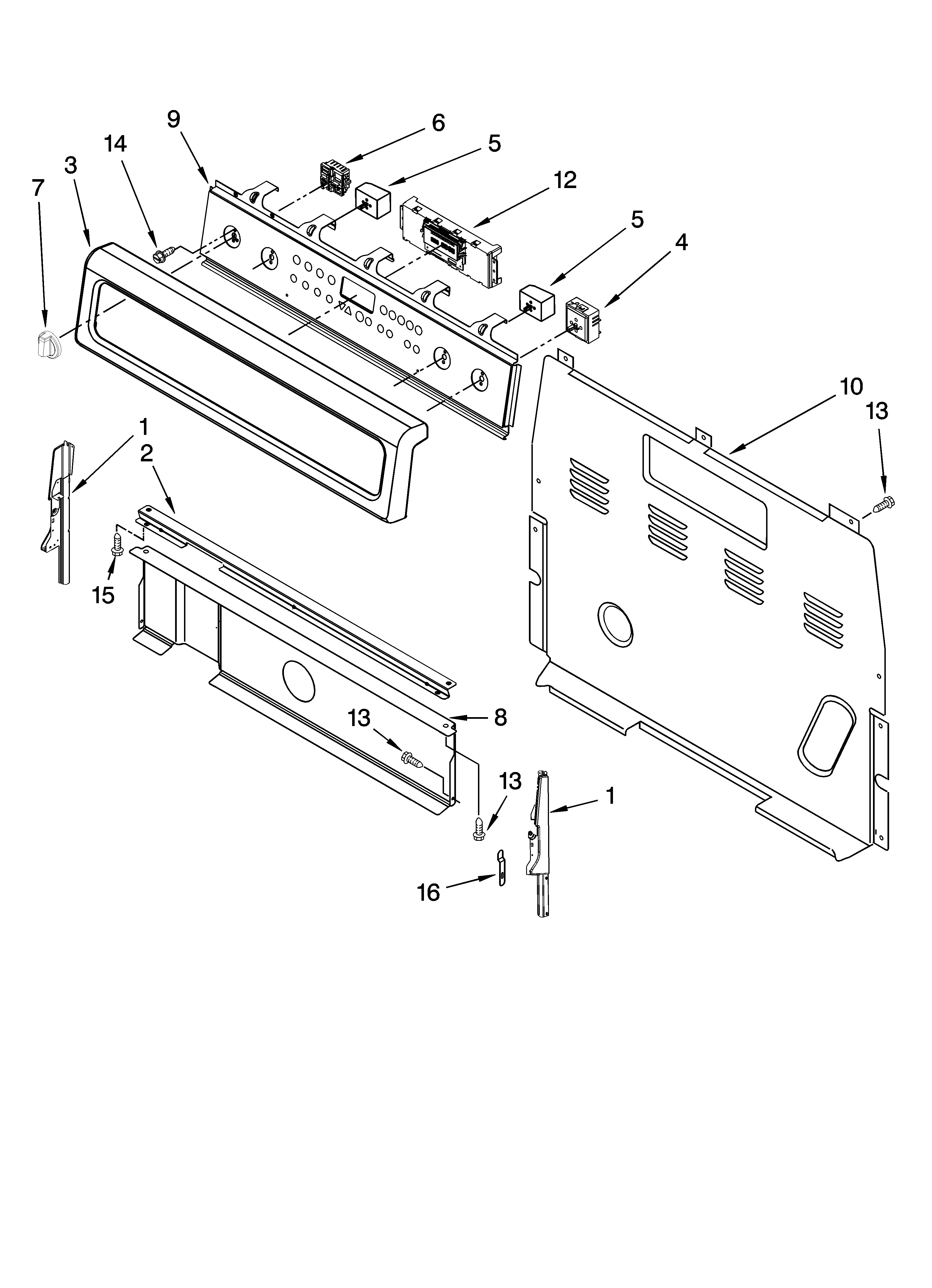 Whirlpool GFE471LVB0 control panel parts diagram