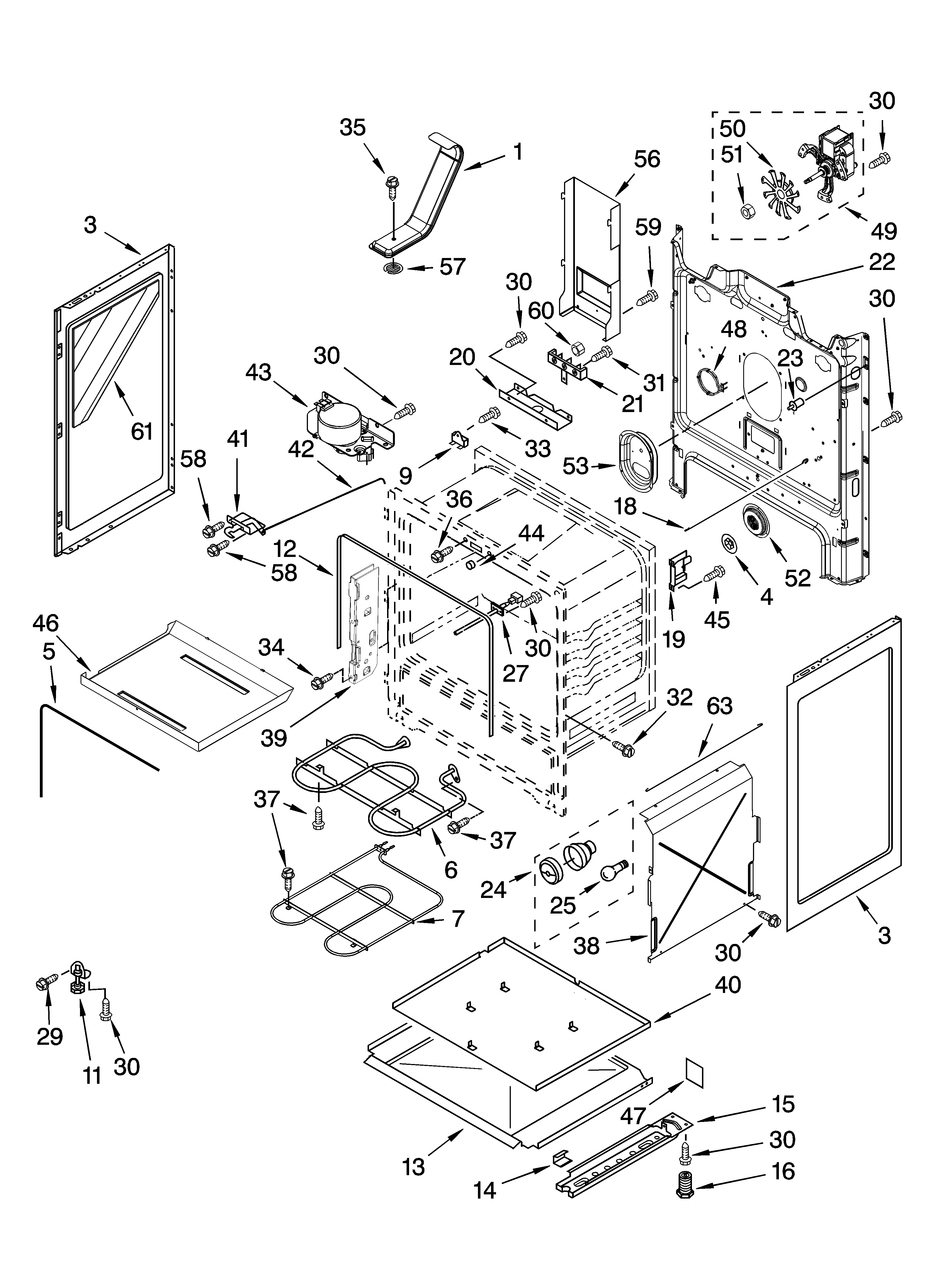 Whirlpool GFE471LVB0 chassis parts diagram