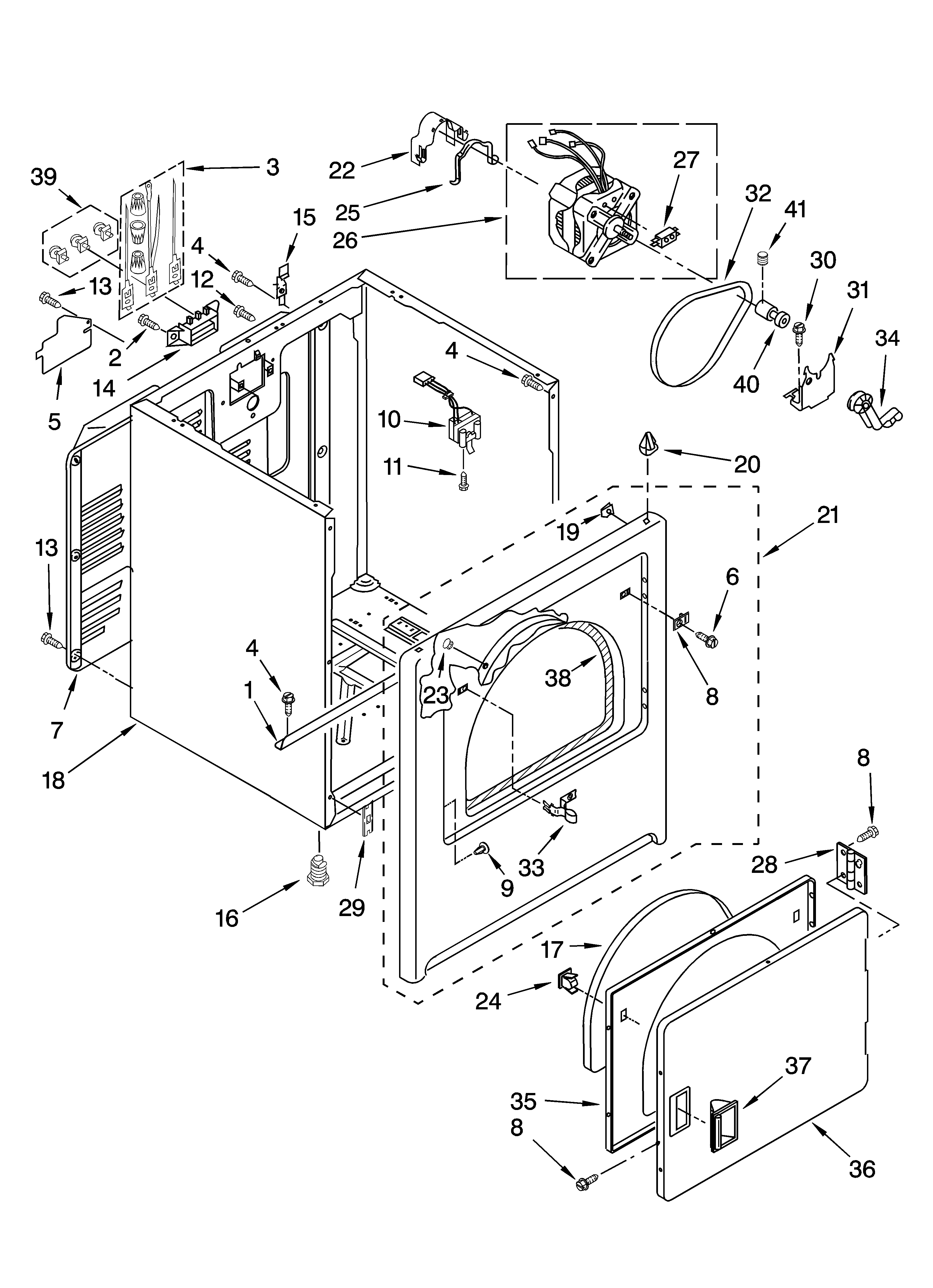 Admiral  Residential Dryer  Cabinet parts