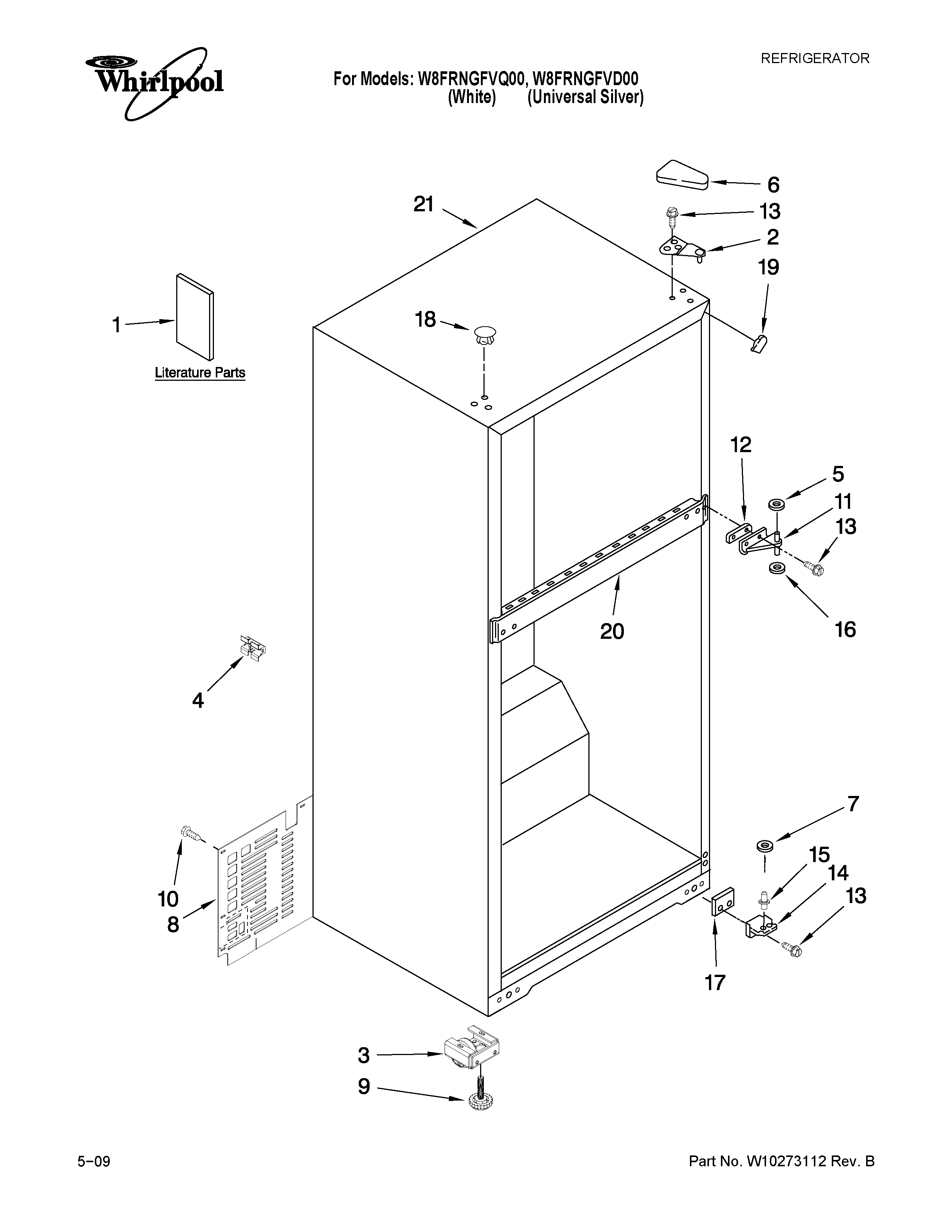 Whirlpool W8FRNGFVD00 cabinet parts diagram