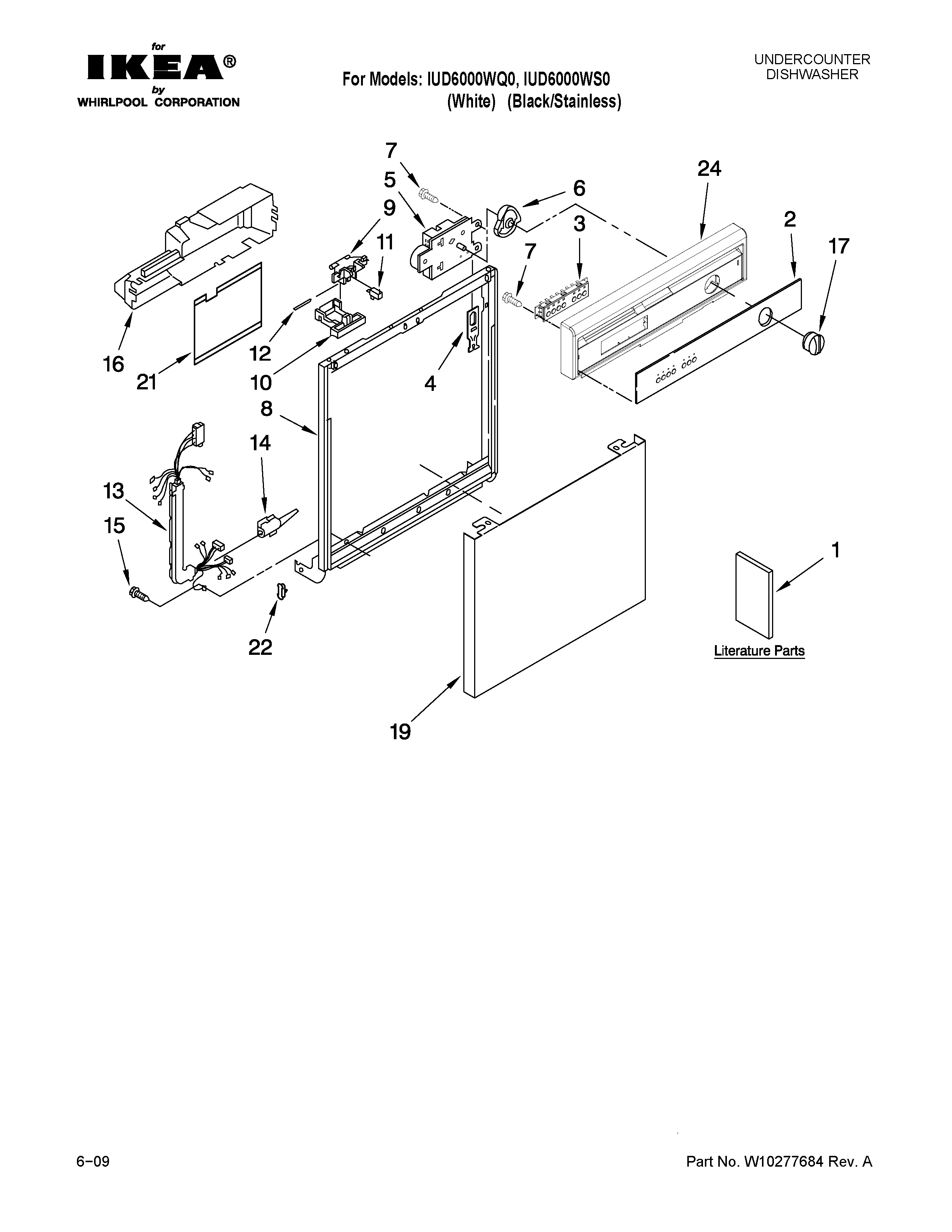 Ikea IUD6000WQ0 frame and console parts diagram