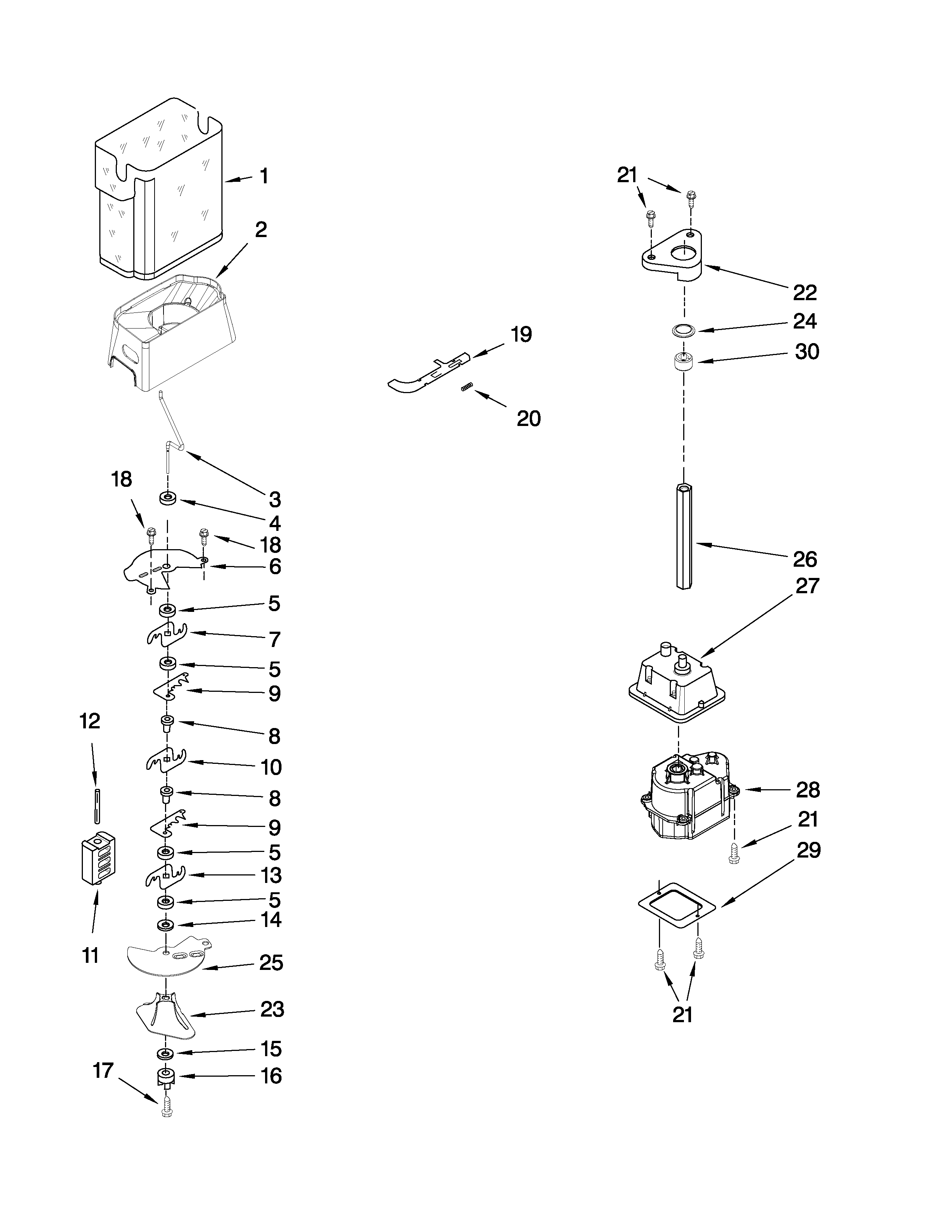Whirlpool ED2KHAXVQ01 motor and ice container parts diagram