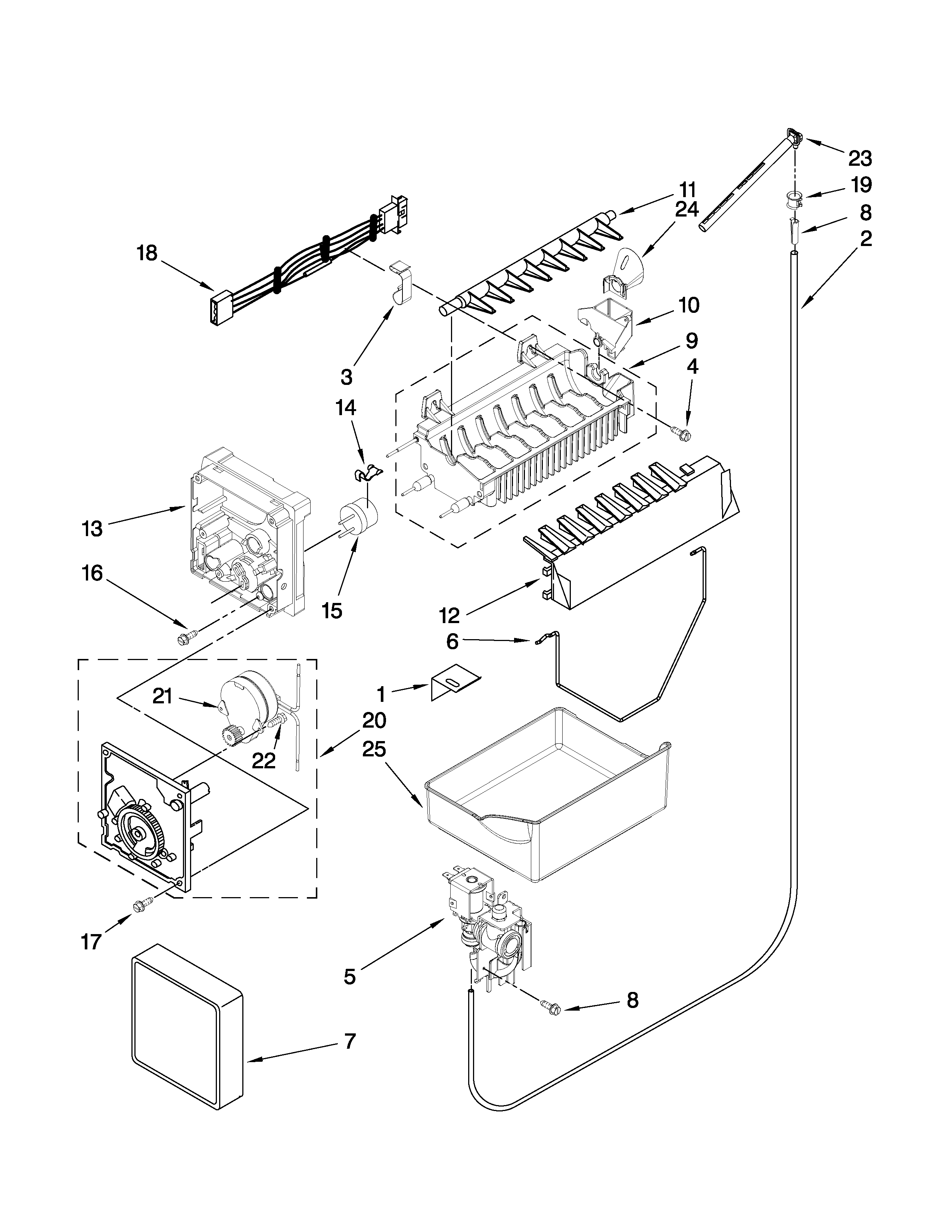 Whirlpool GB9FHDXWQ01 icemaker parts diagram