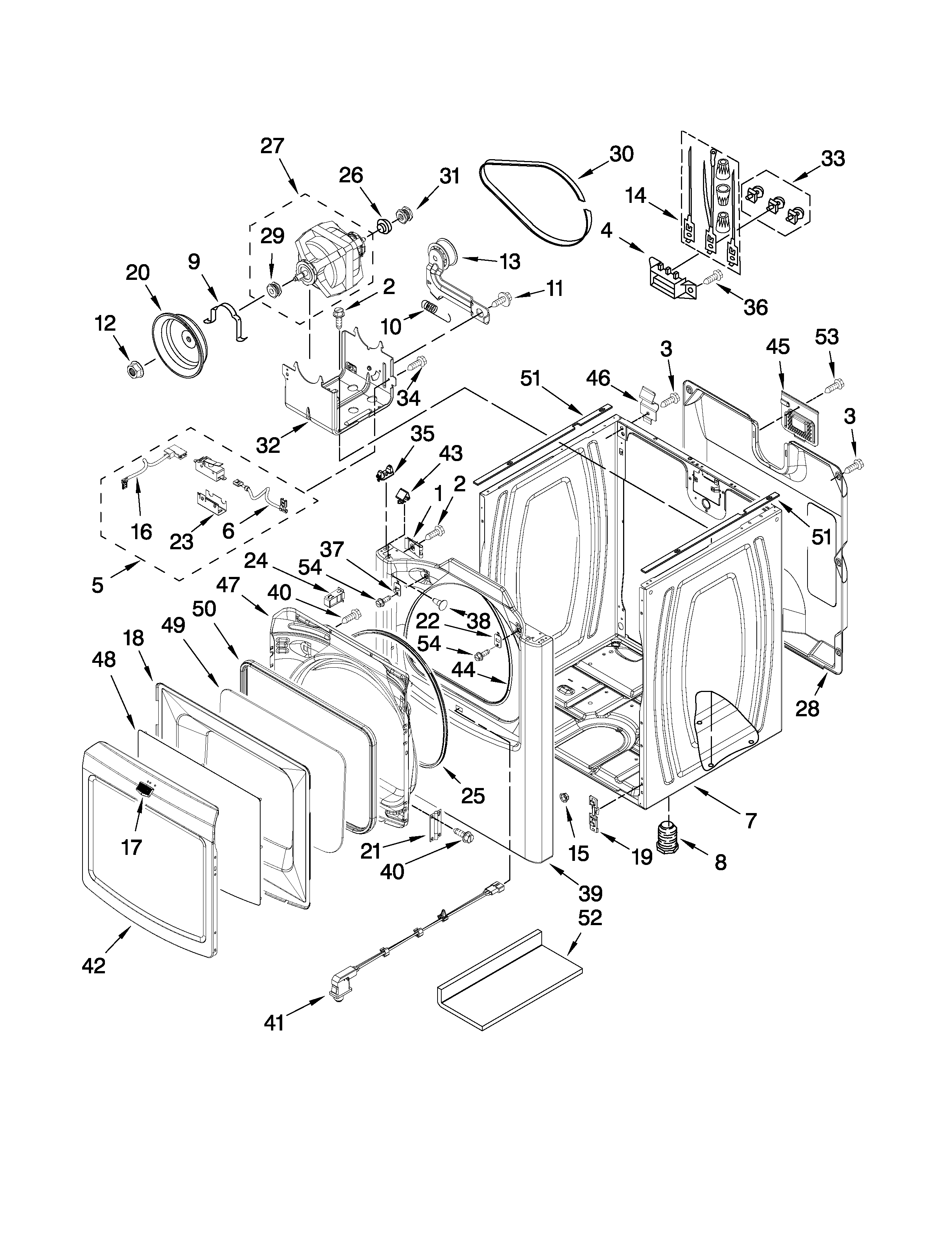 Maytag MEDB850WQ0 cabinet parts diagram