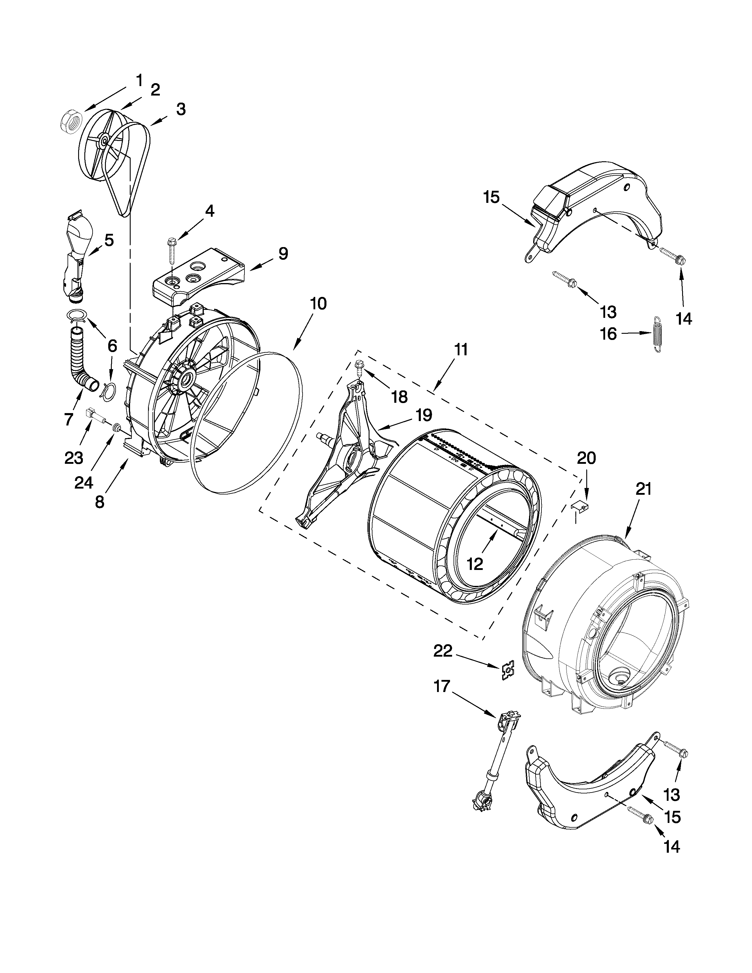 Whirlpool WFW9050XW00 tub and basket parts diagram