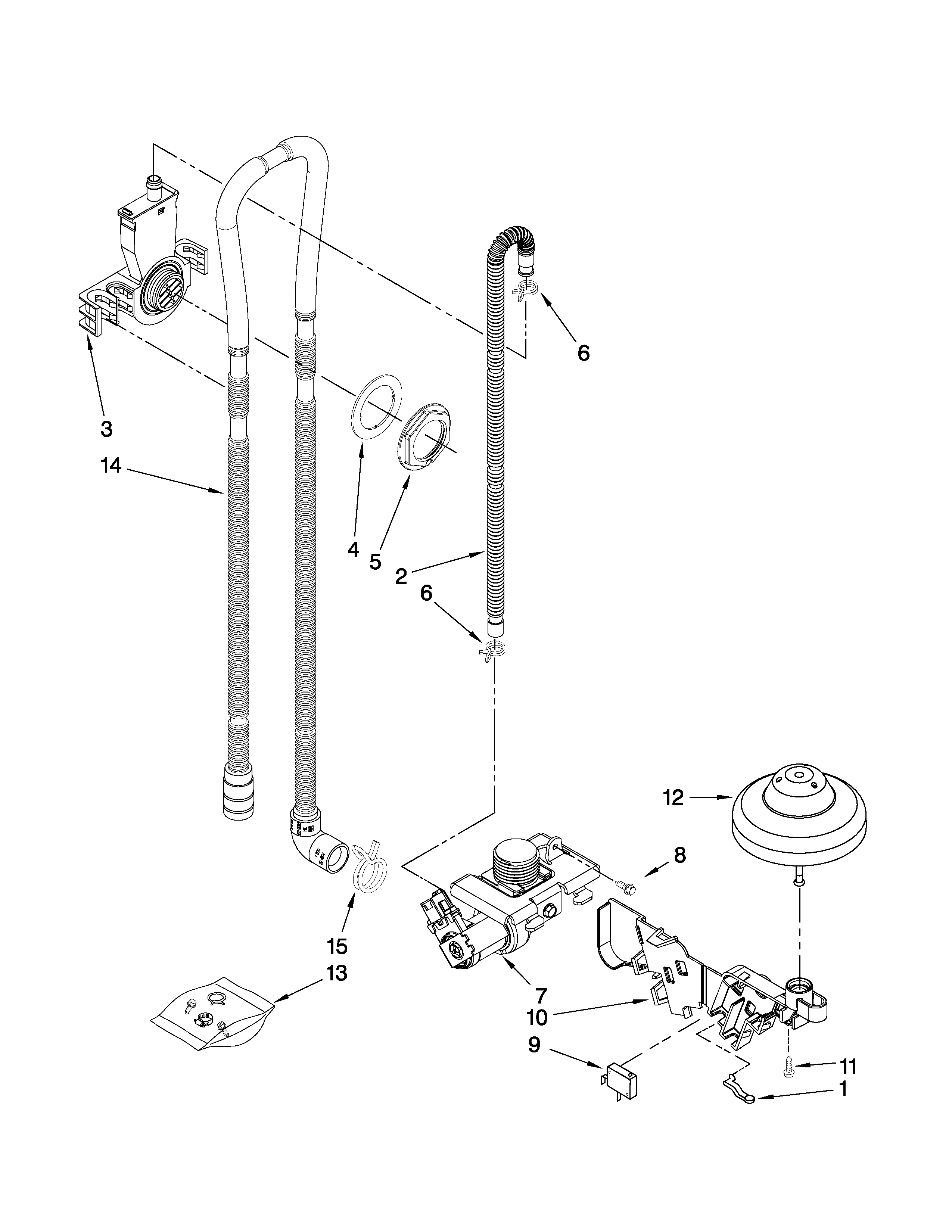 Estate TUD8700XS1 fill, drain and overfill parts diagram