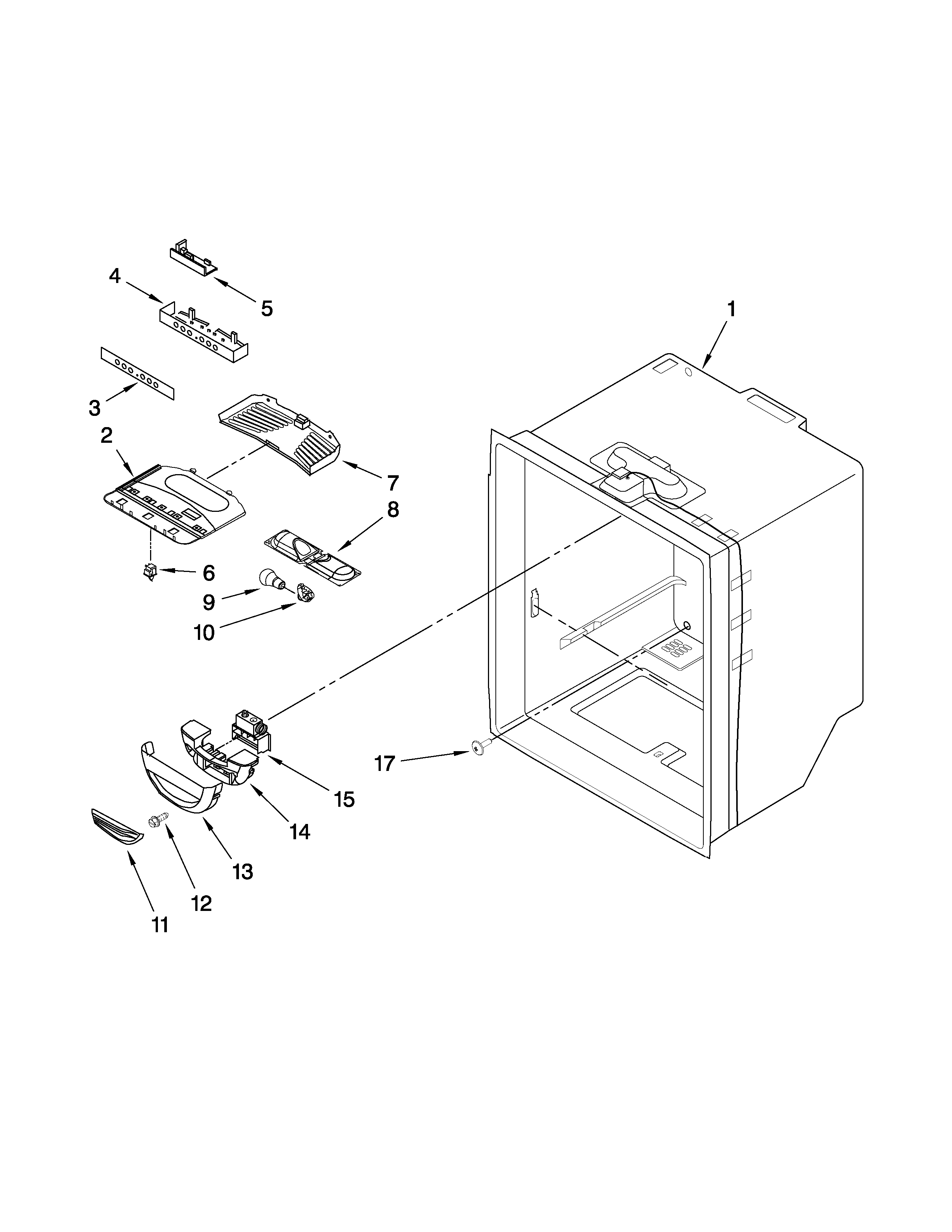 Whirlpool GB9FHDXWQ01 refrigerator liner parts diagram