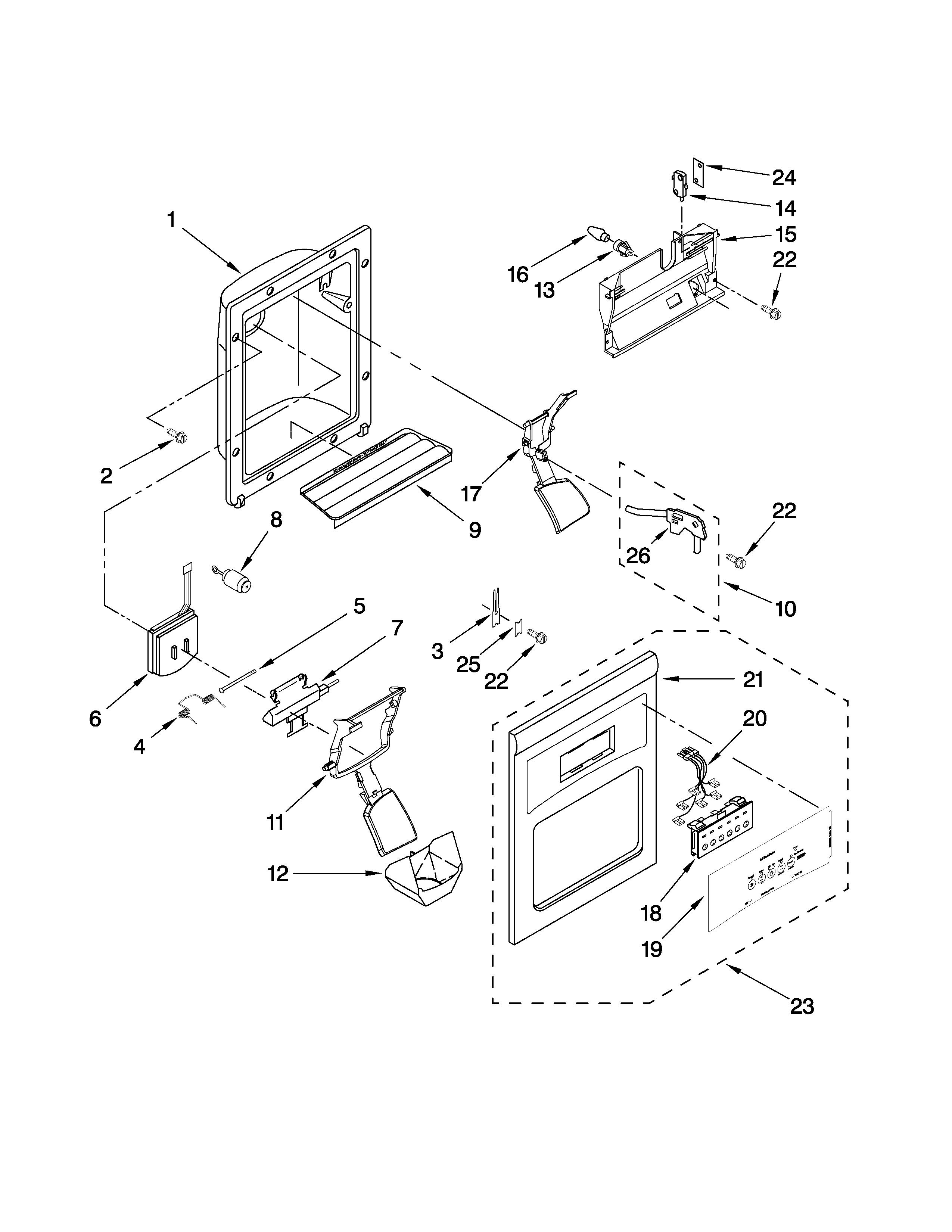 Whirlpool ED5PVEXWS02 dispenser front parts diagram