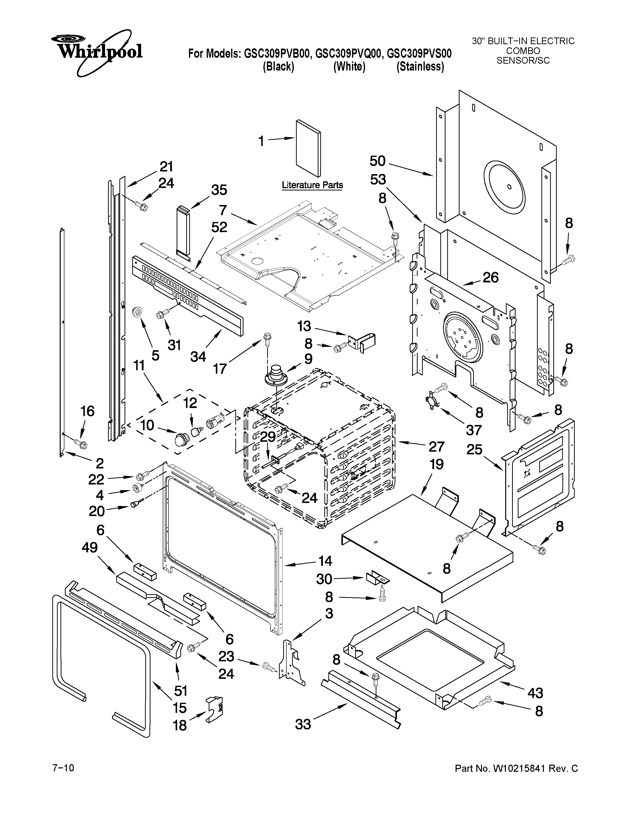 Whirlpool GSC309PVB00 oven parts diagram