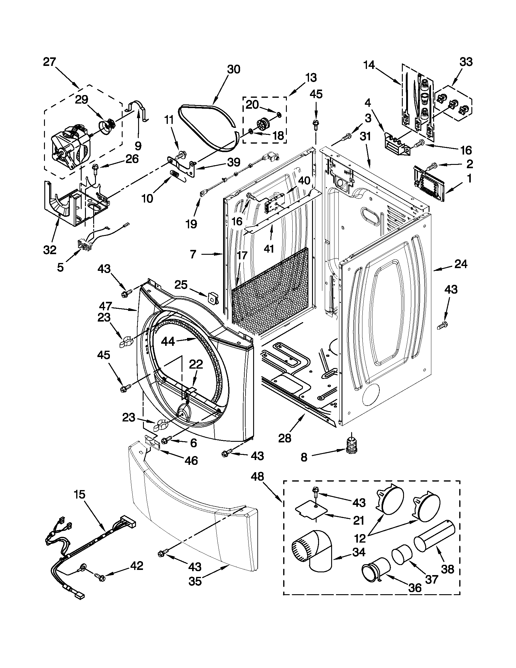 Whirlpool WED9610XW0 cabinet parts diagram