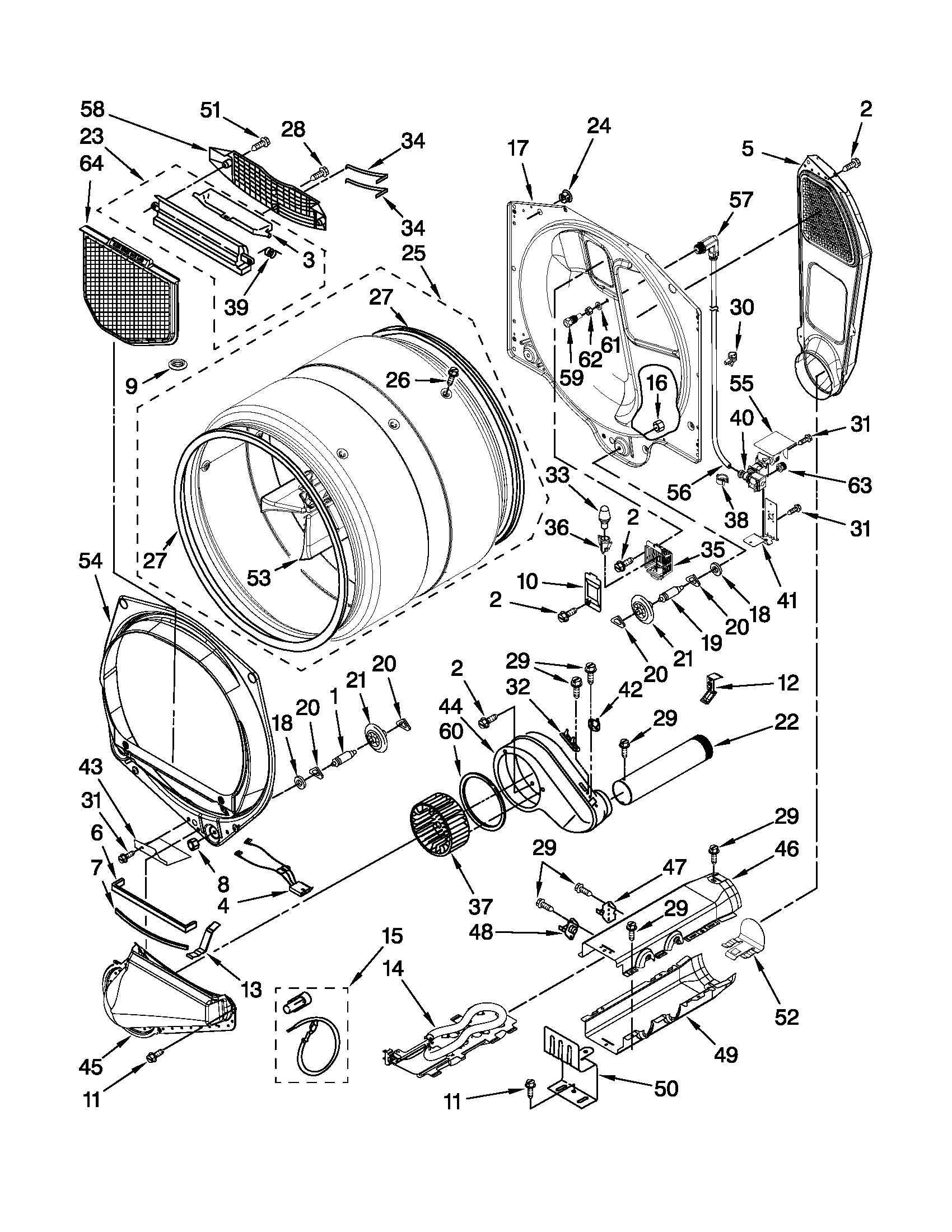 Whirlpool WED9610XW0 bulkhead parts diagram