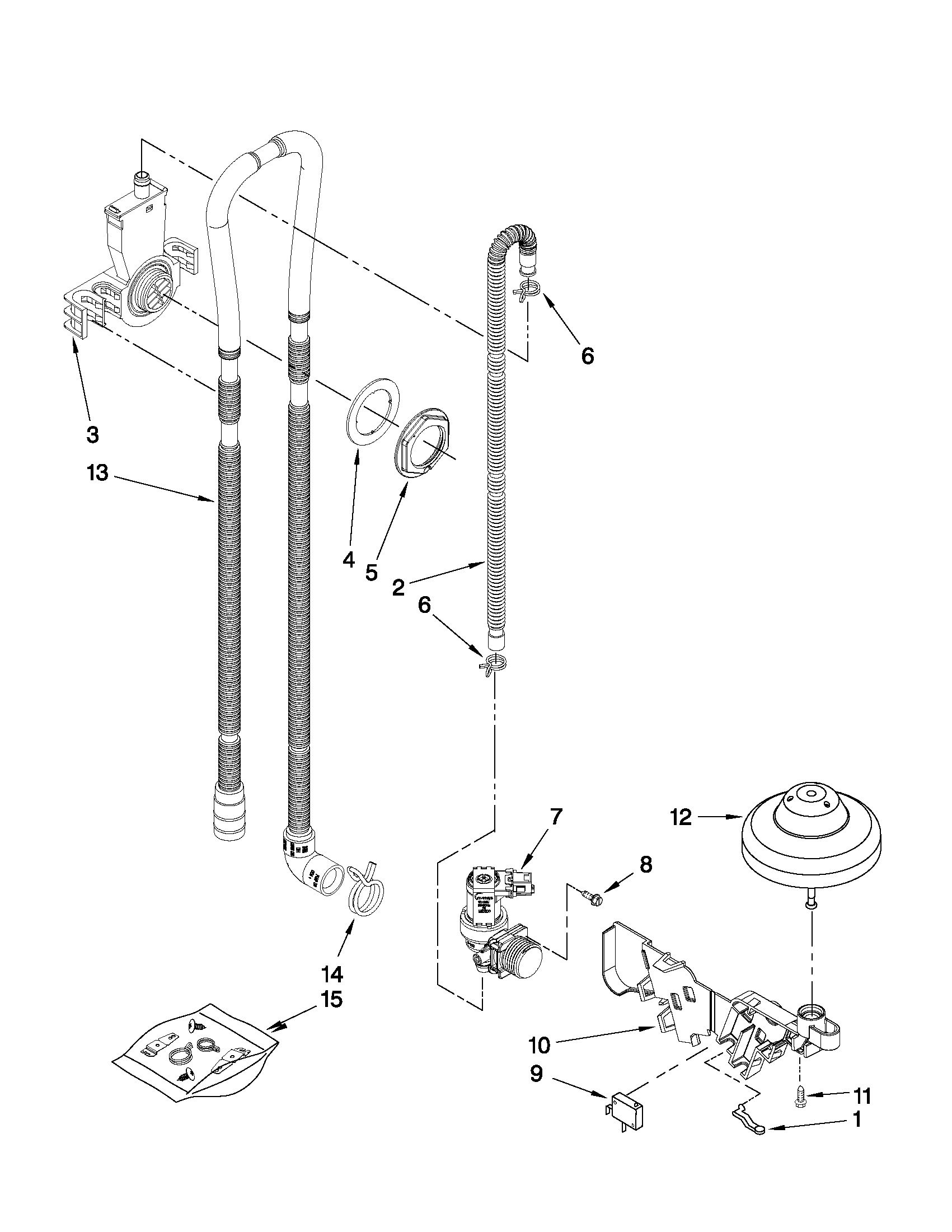 Whirlpool DU1345XTVQ5 fill, drain and overfill parts diagram