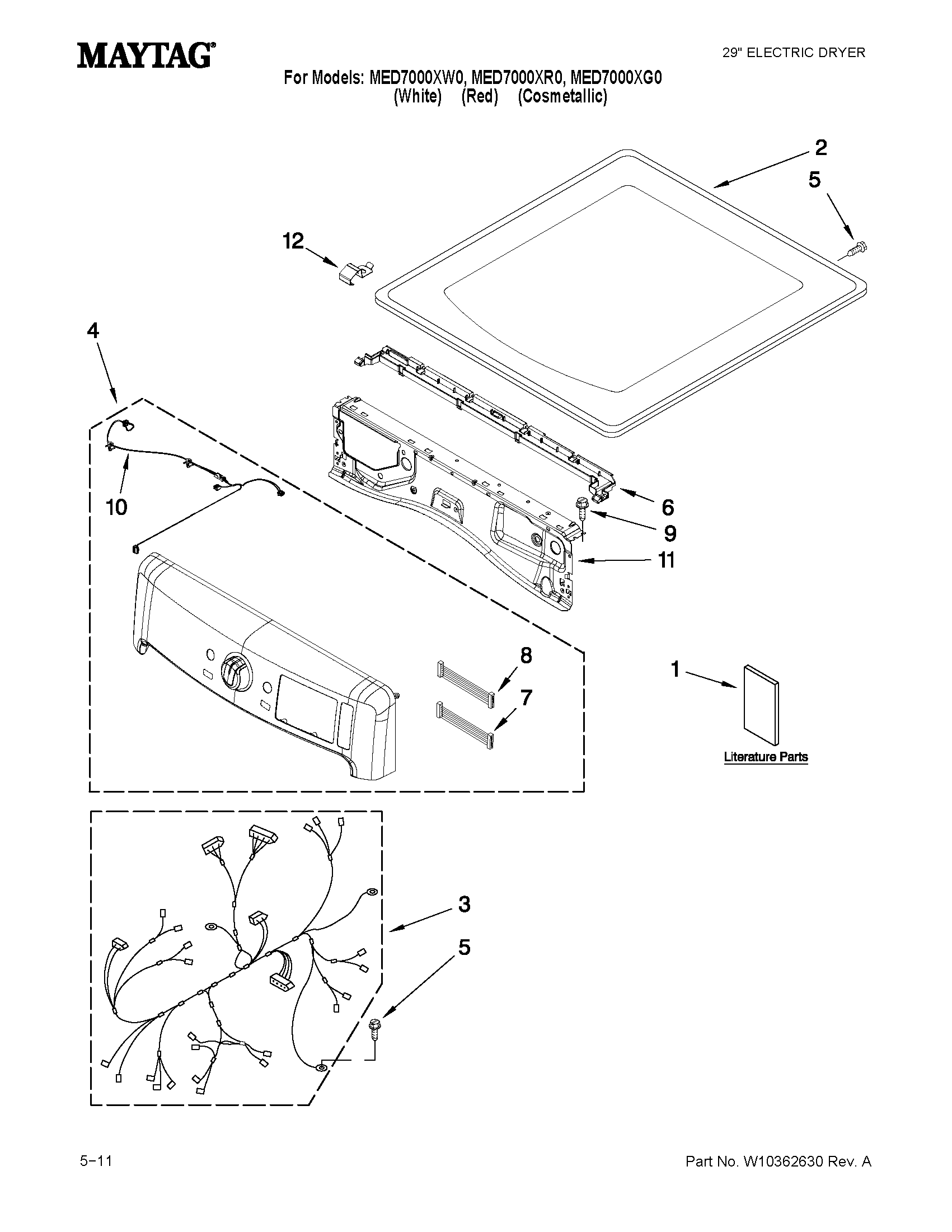 Maytag MED7000XR0 top and console parts diagram