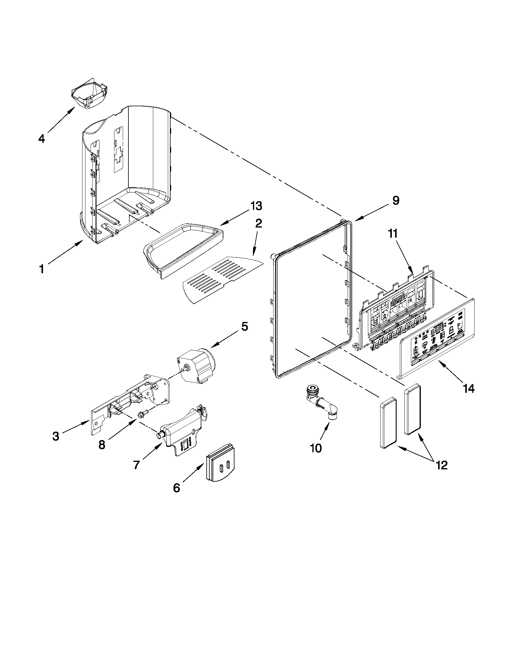 Whirlpool GSS26C5XXY00 dispenser front parts diagram