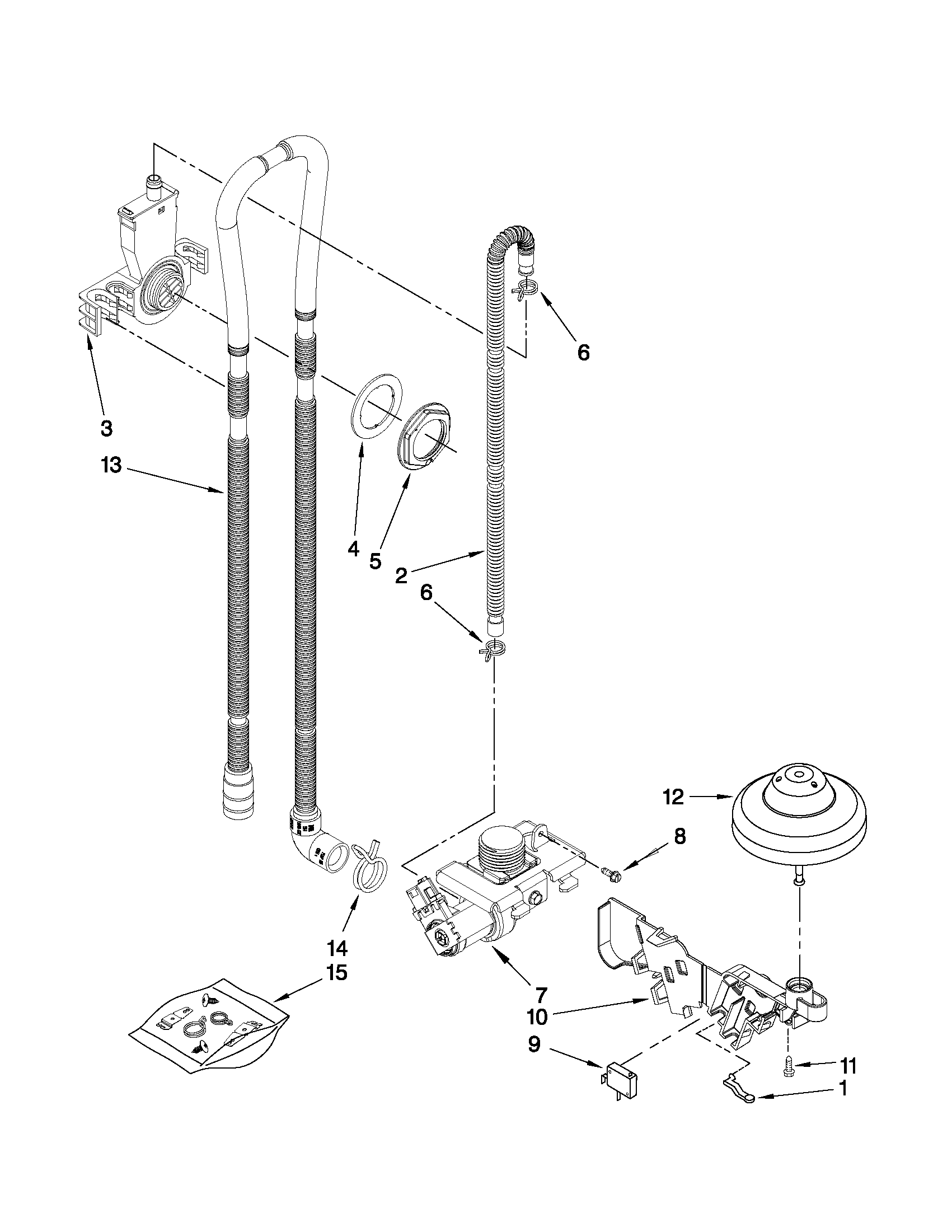 Whirlpool DU1055XTVS3 fill, drain and overfill parts diagram