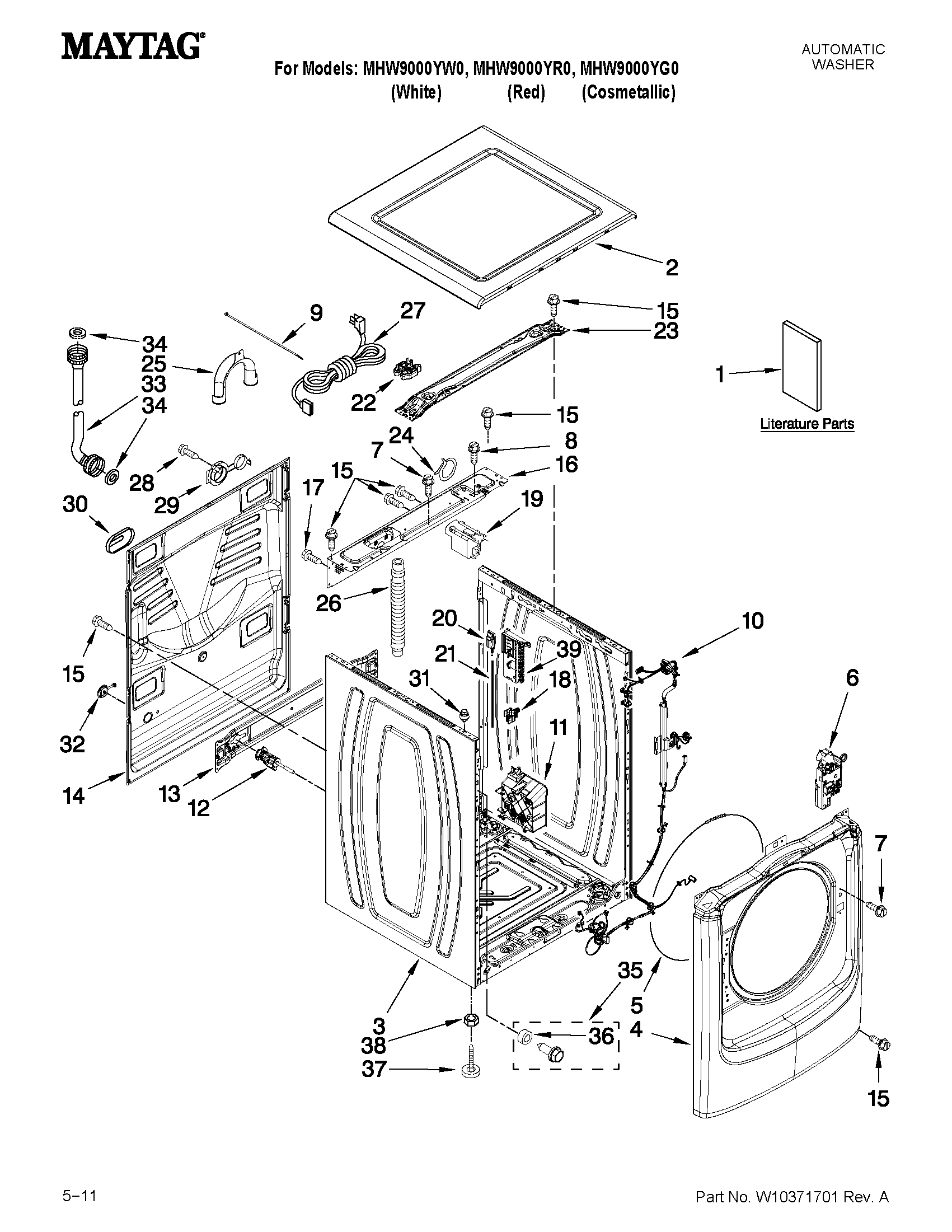 Maytag MHW9000YR0 top and cabinet parts diagram