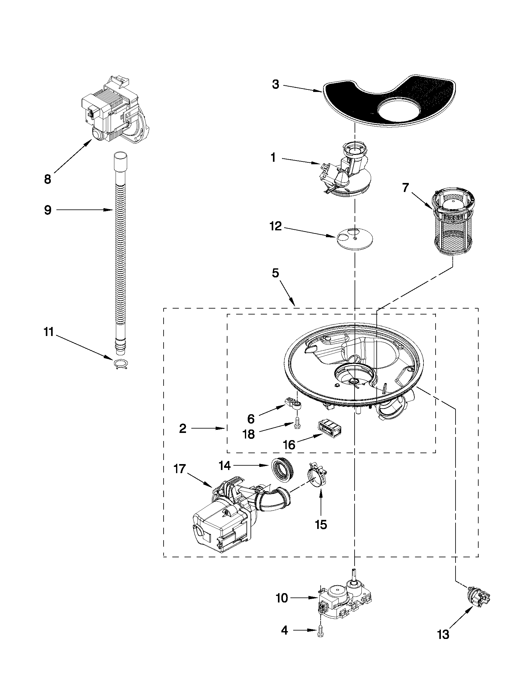 Whirlpool WDF730PAYB1 pump and motor parts diagram