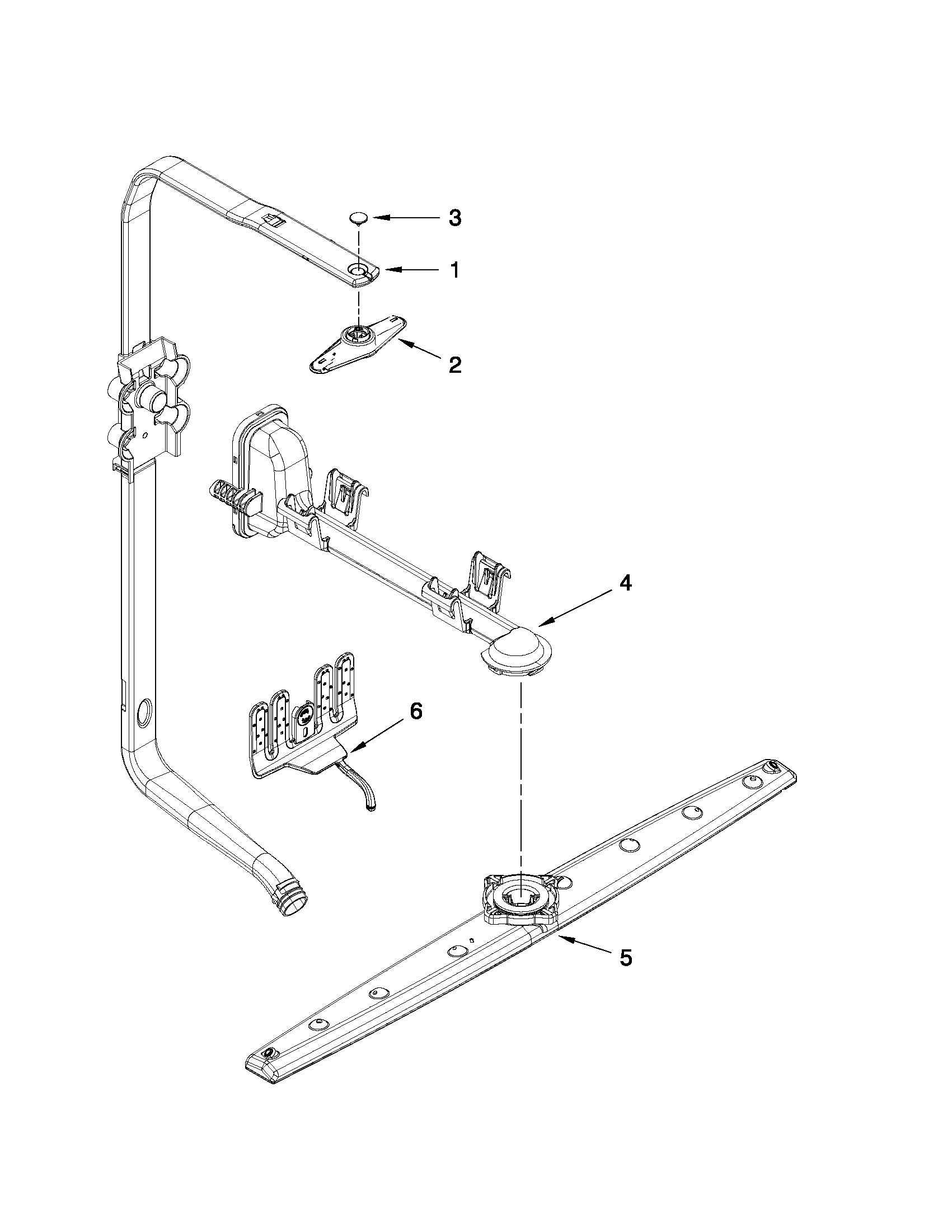 Whirlpool WDF730PAYB1 upper wash and rinse parts diagram