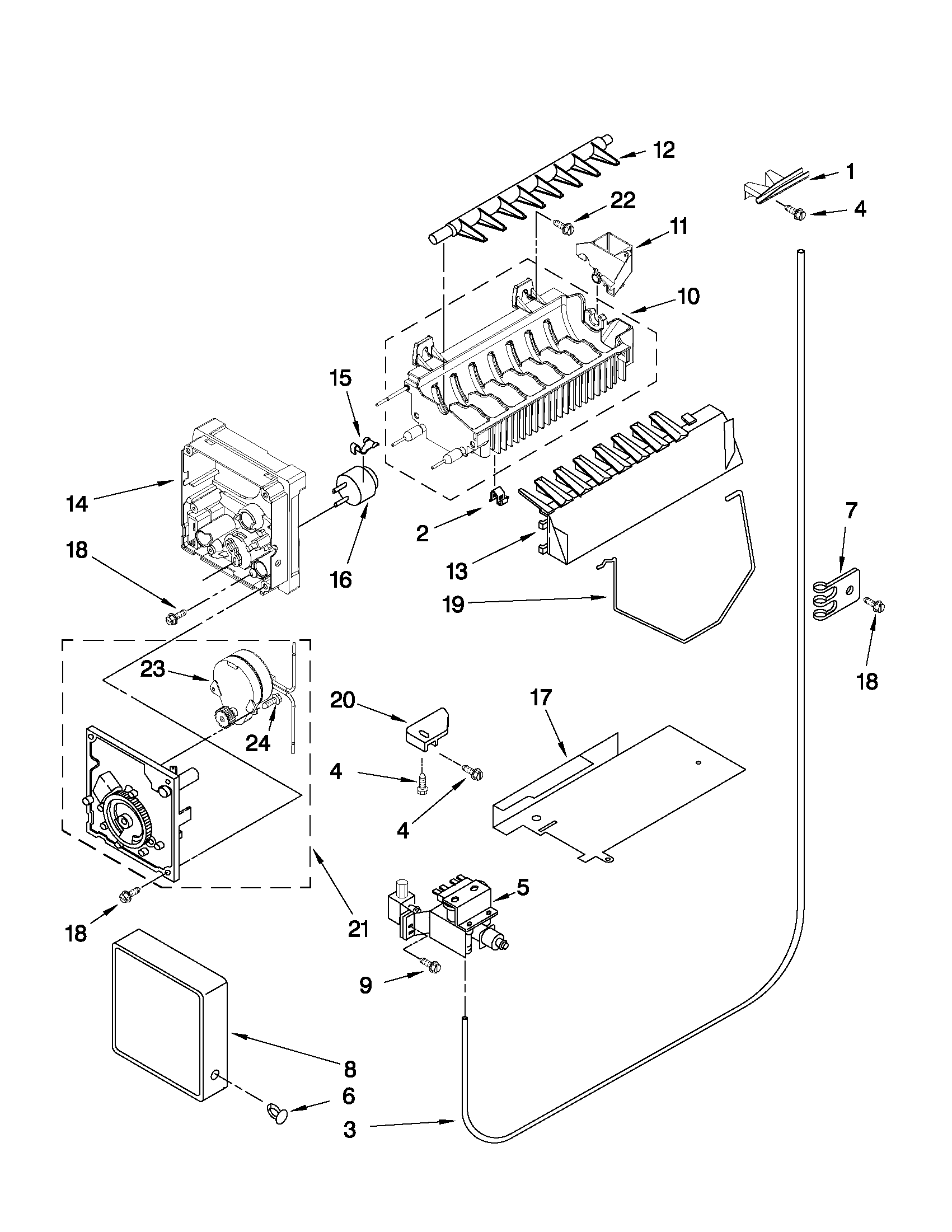 Whirlpool 6GD25DCXHS15 icemaker parts diagram