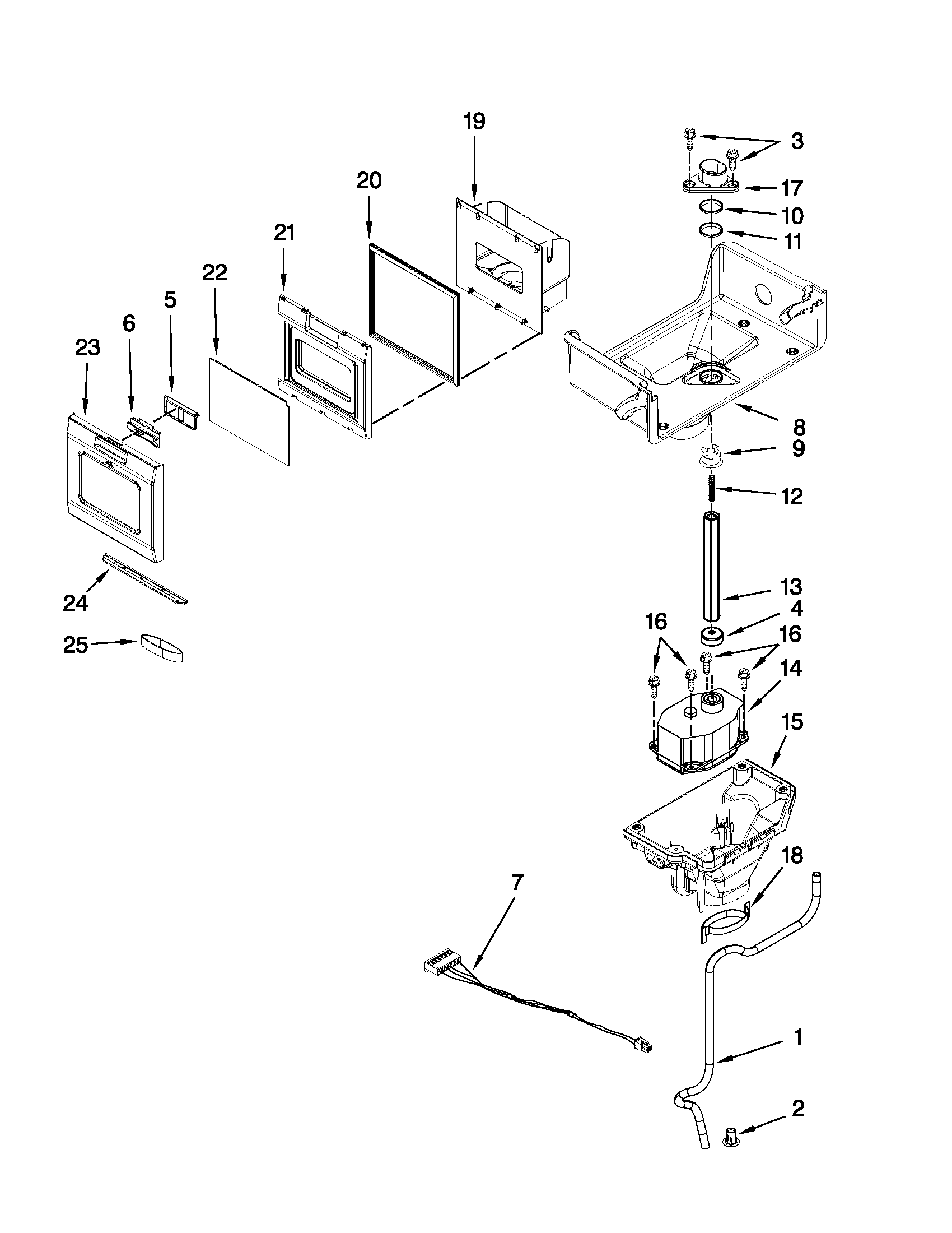 KitchenAid KFIS27CXWH1 motor and ice container parts diagram