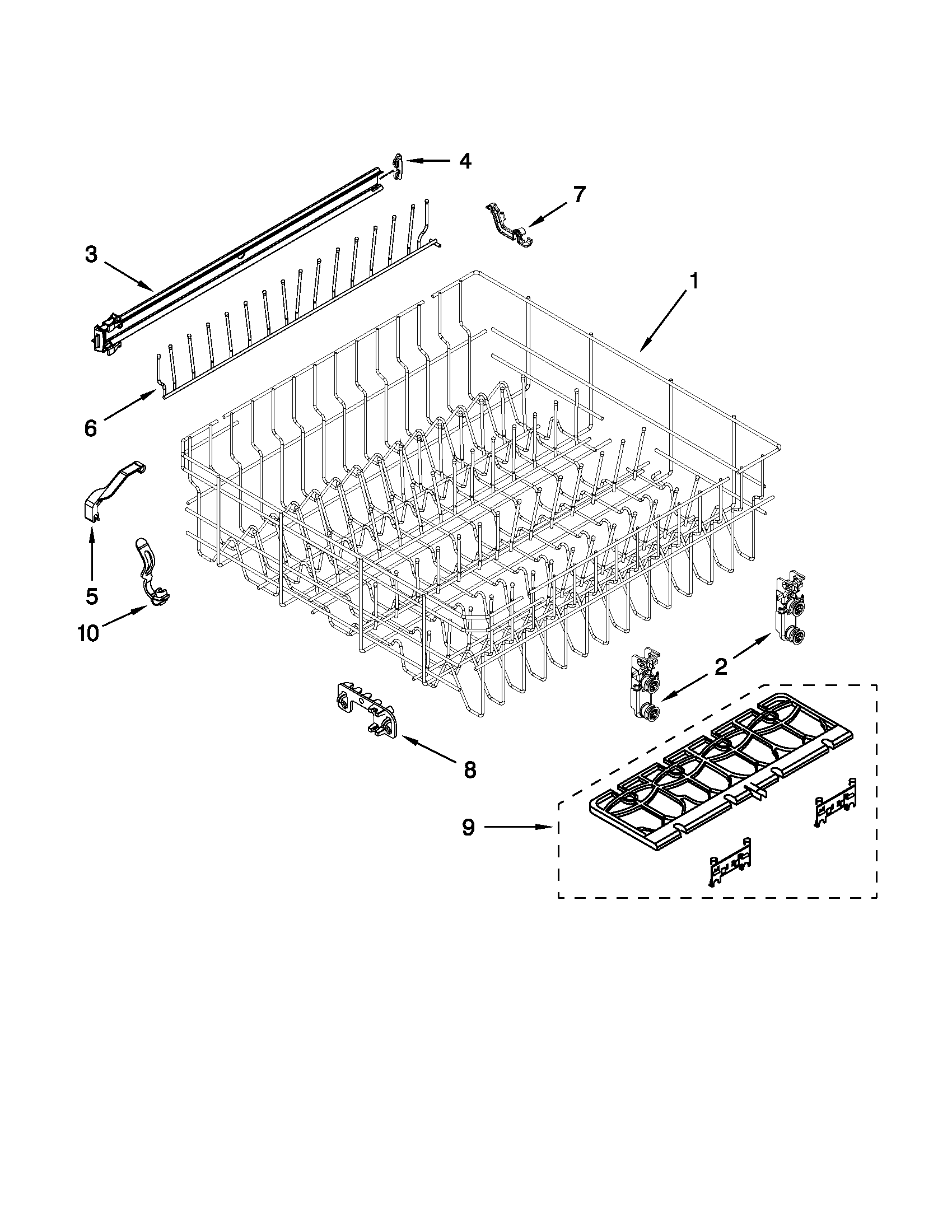 Whirlpool WDF730PAYB2 upper rack and track parts diagram