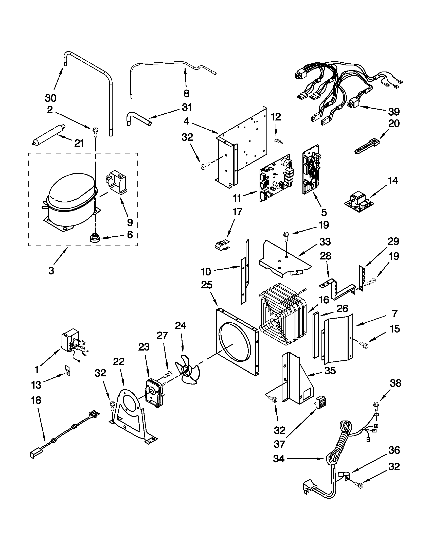 Jenn-Air  Built-In Refrigerator  Upper unit parts