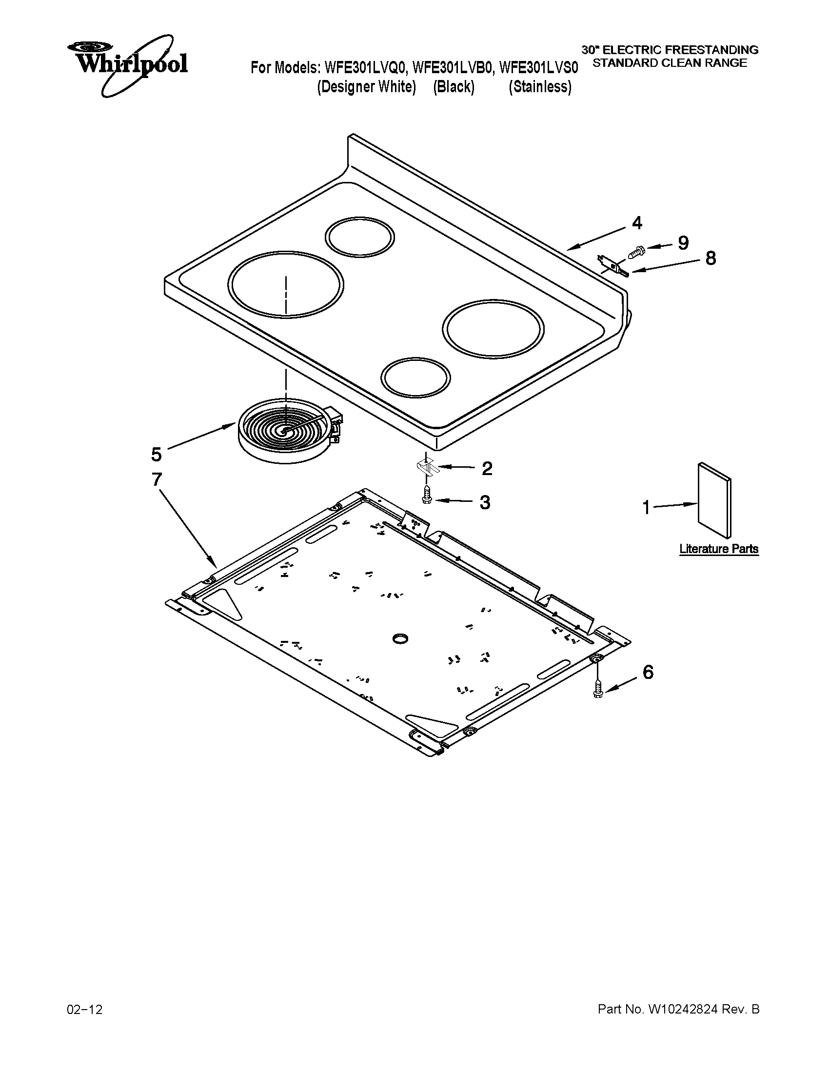 Whirlpool WFE301LVS0 cooktop parts diagram