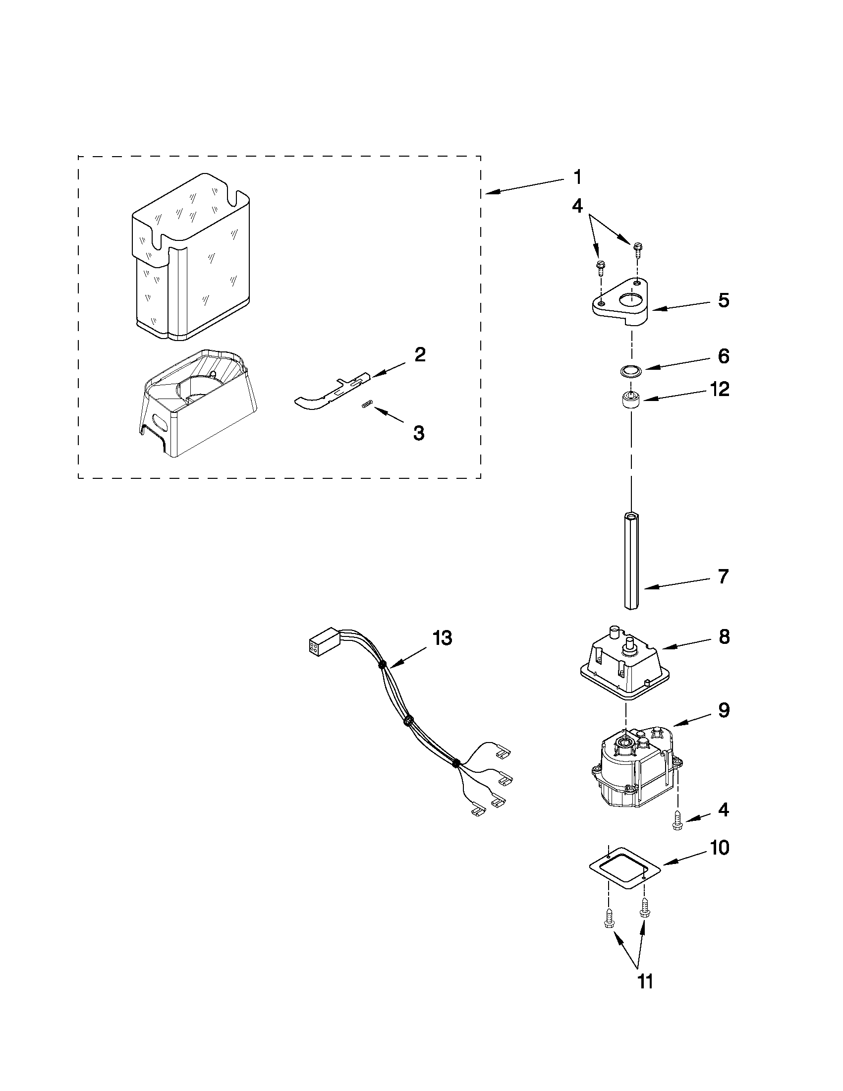 KitchenAid KSCK25FVWH03 motor and ice container parts diagram