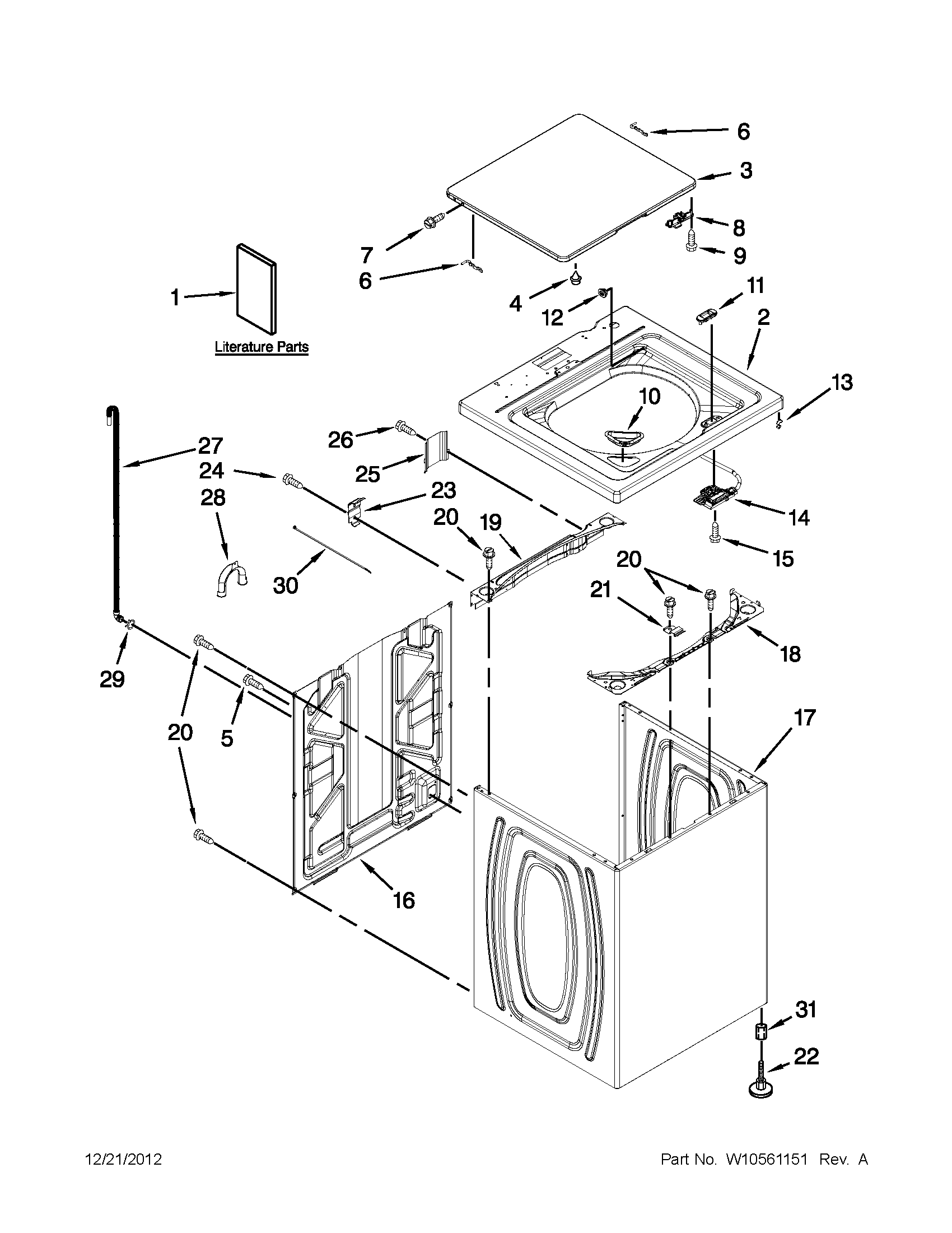 Whirlpool 7MWTW1502AW2 top and cabinet parts diagram