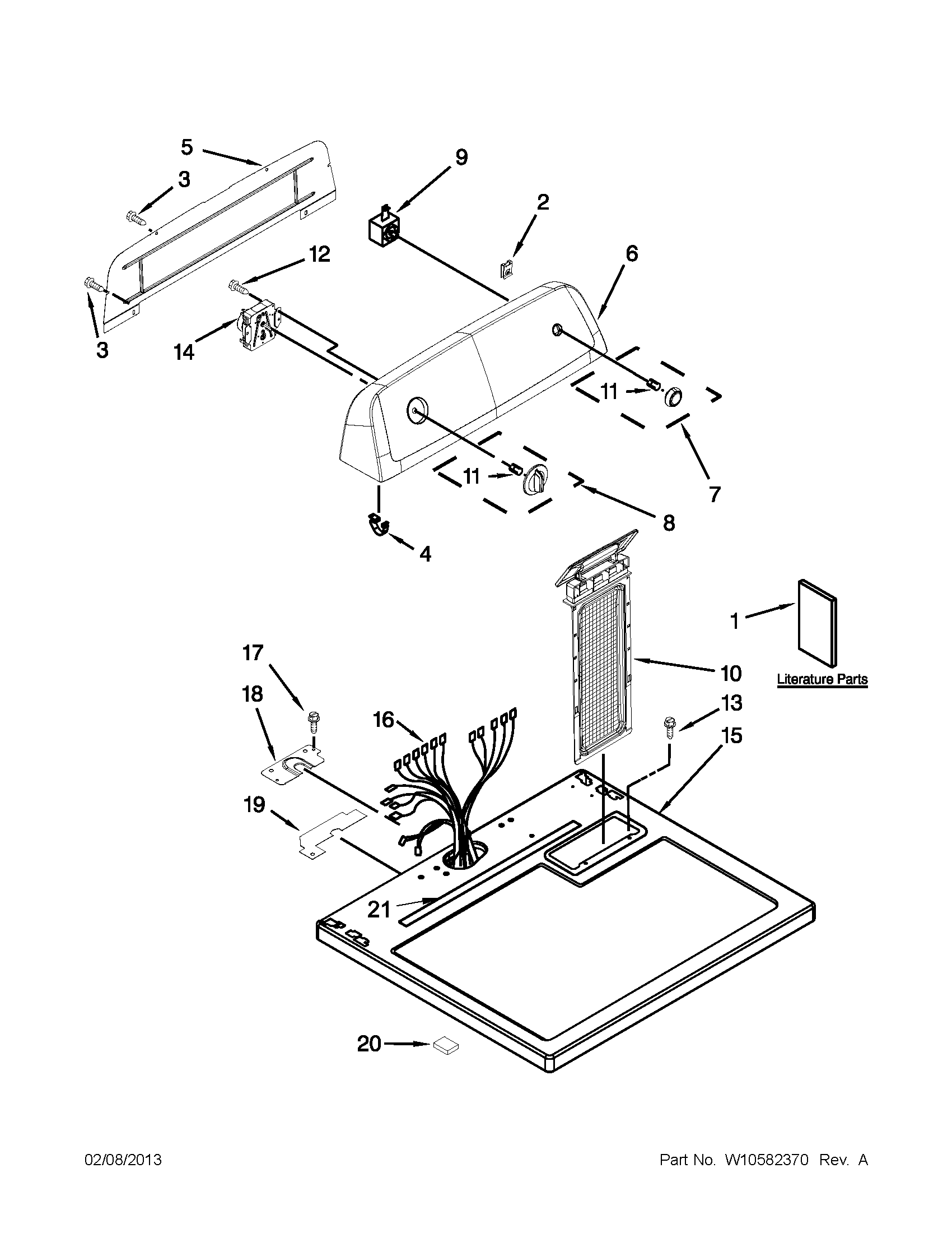Amana NED4600YQ1 top and console parts diagram
