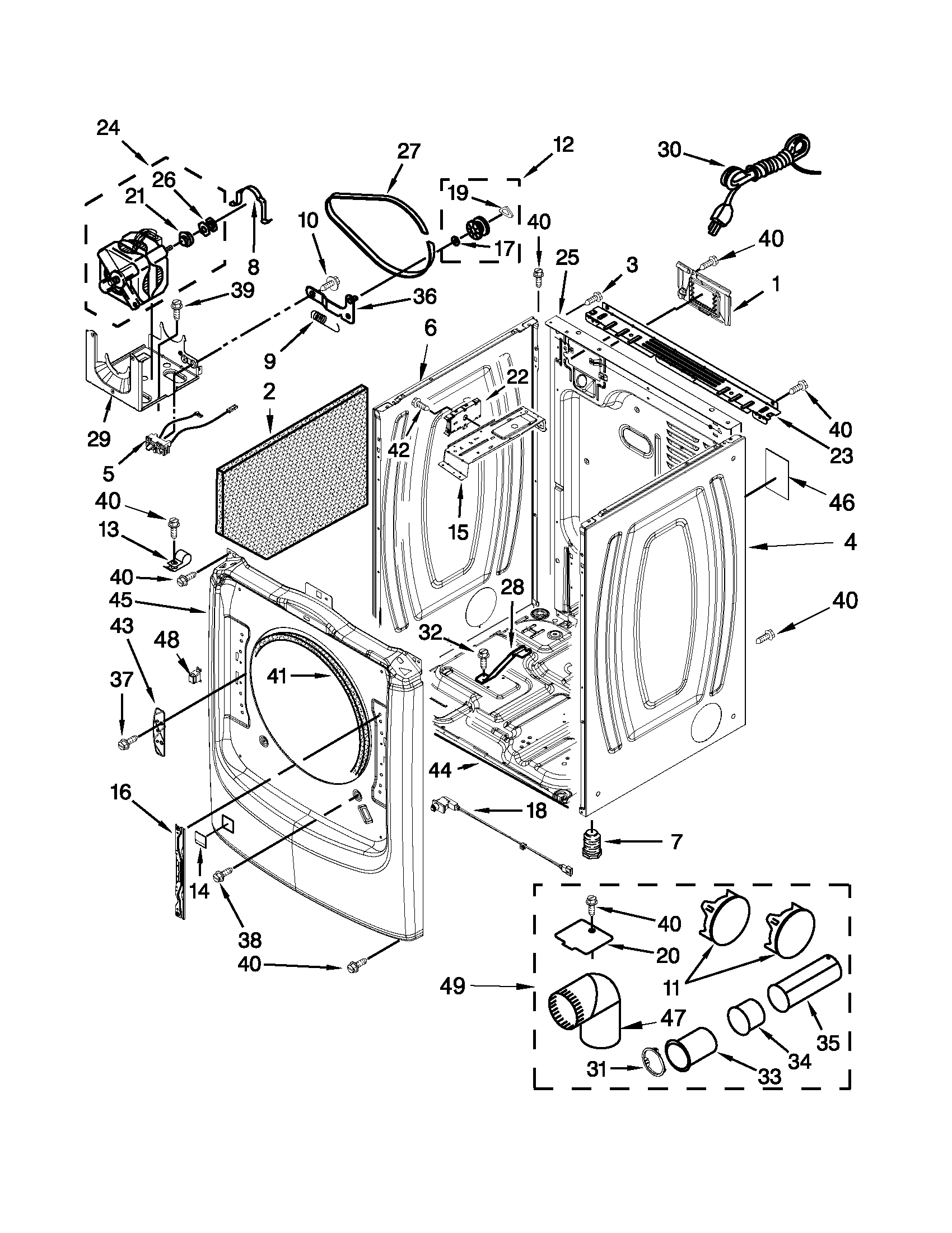 Maytag MGD4200BW0 cabinet parts diagram