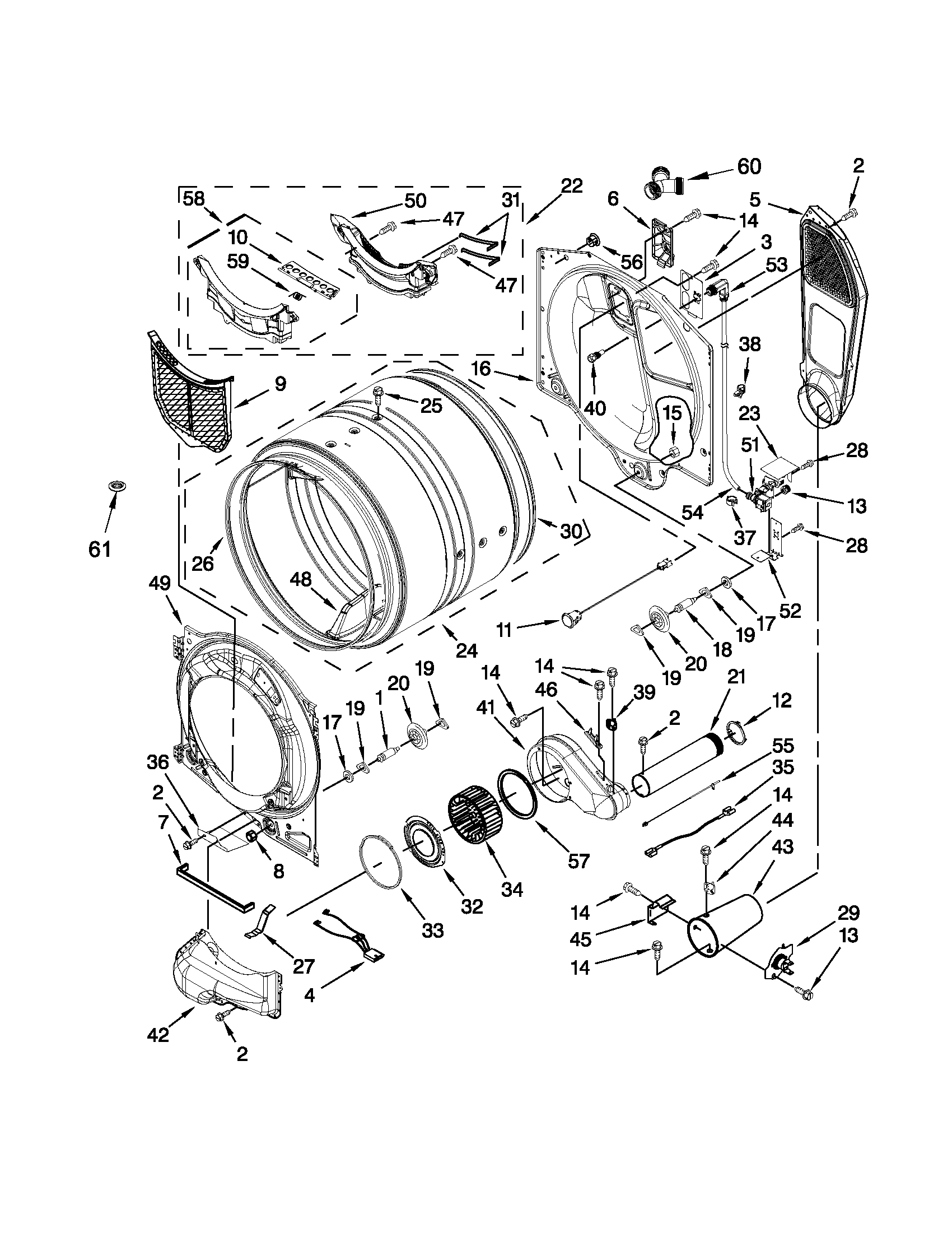 Maytag MGD4200BW0 bulkhead parts diagram