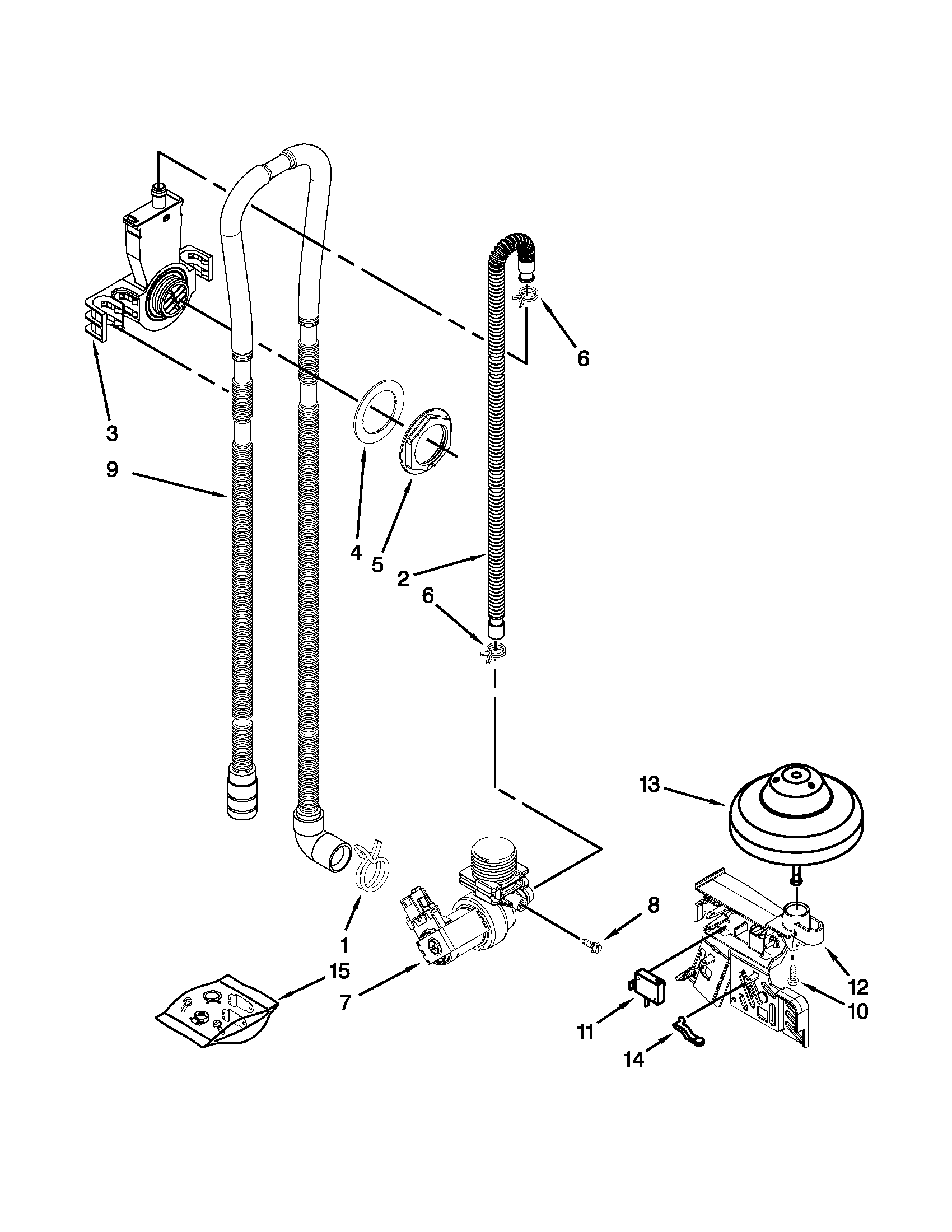 Whirlpool 7WDT770PAYW4 fill, drain and overfill parts diagram