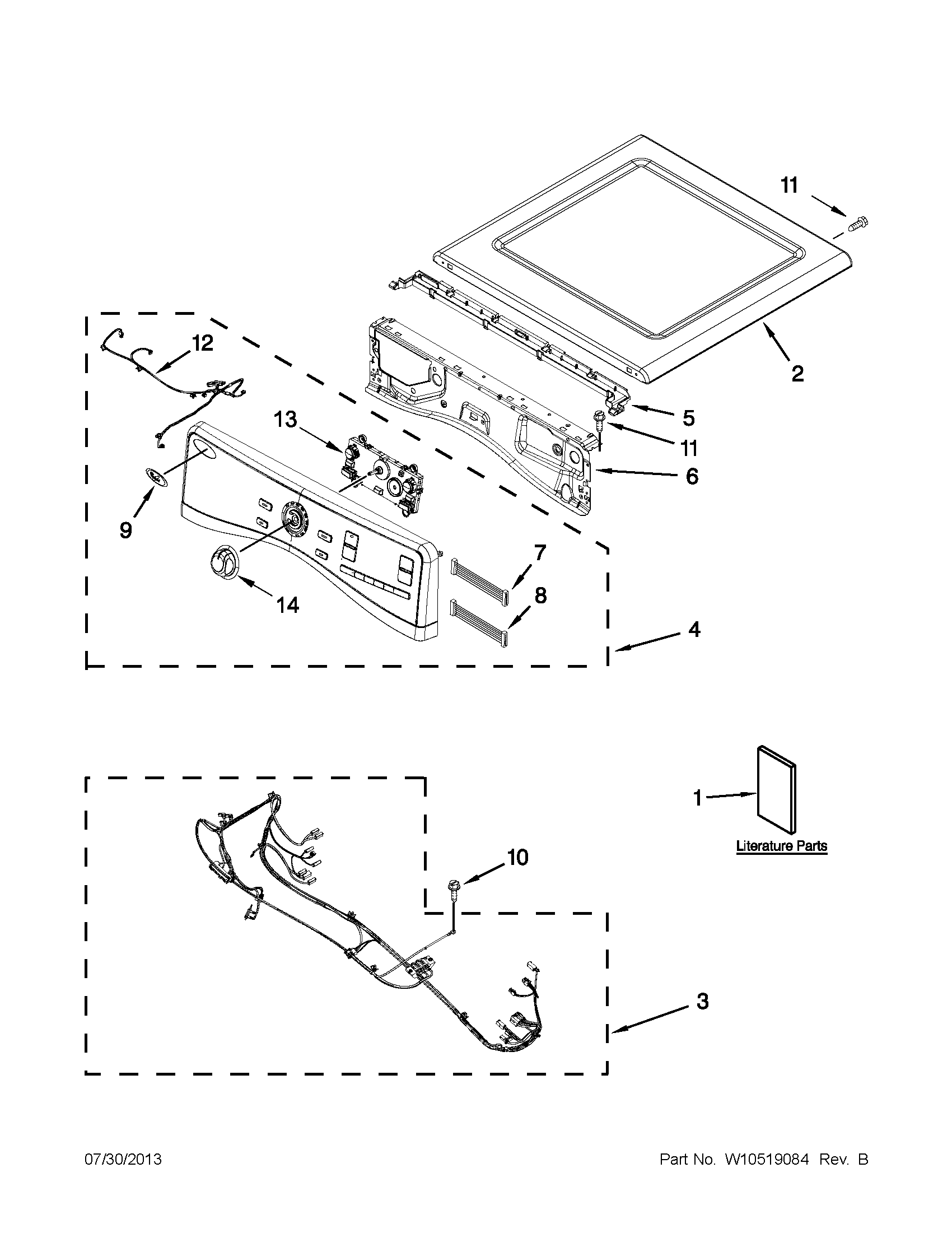 Whirlpool YWED97HEXL4 top and console parts diagram