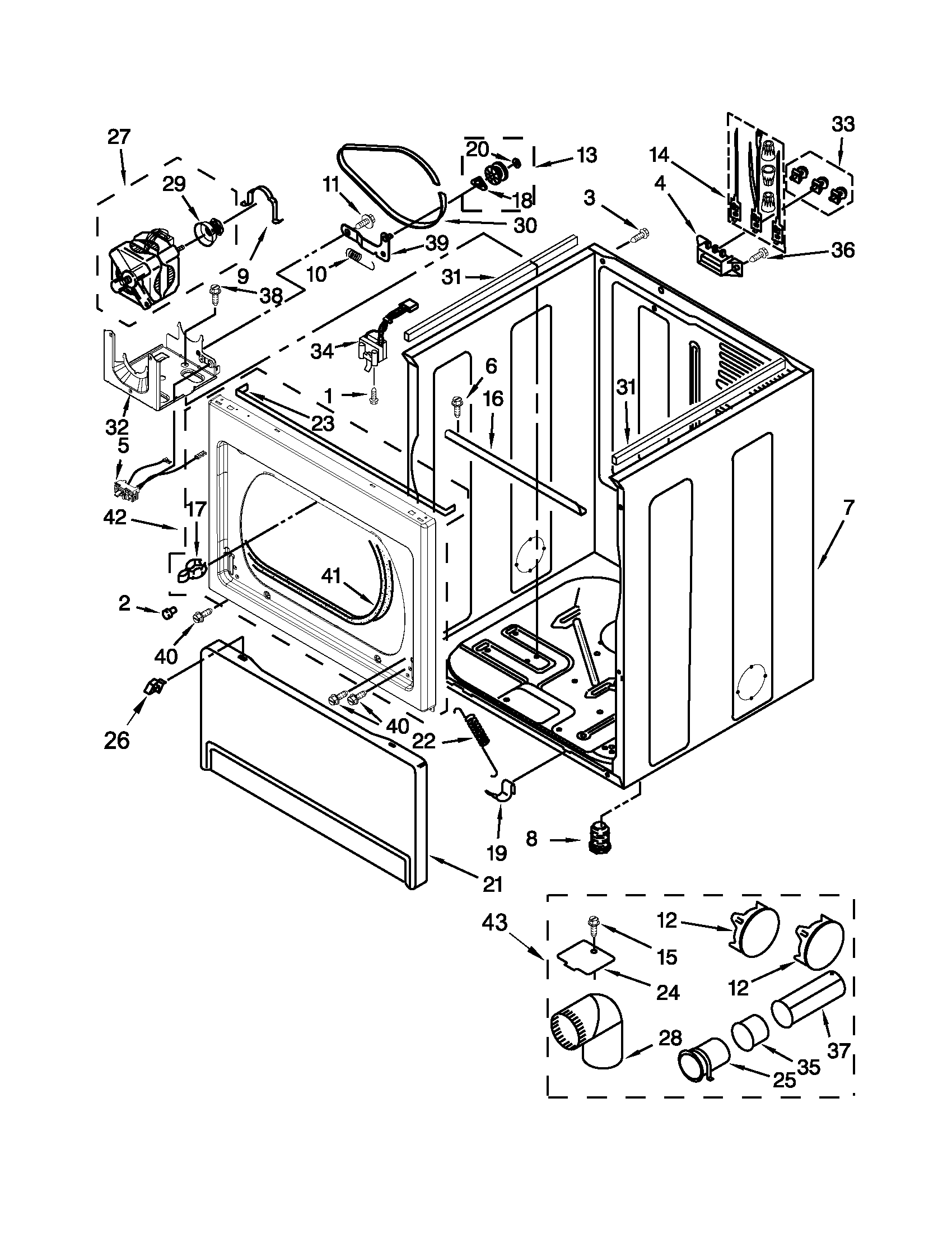 Whirlpool WED5800BW0 cabinet parts diagram