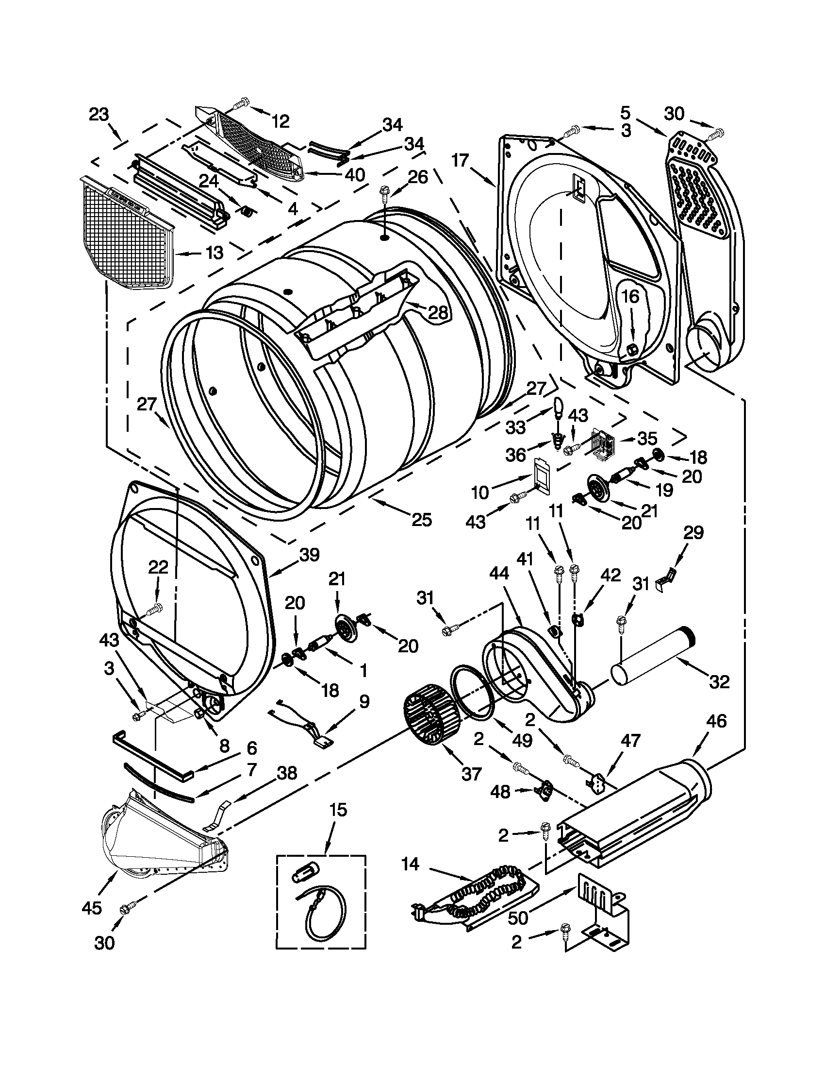 Whirlpool WED5800BW0 bulkhead parts diagram