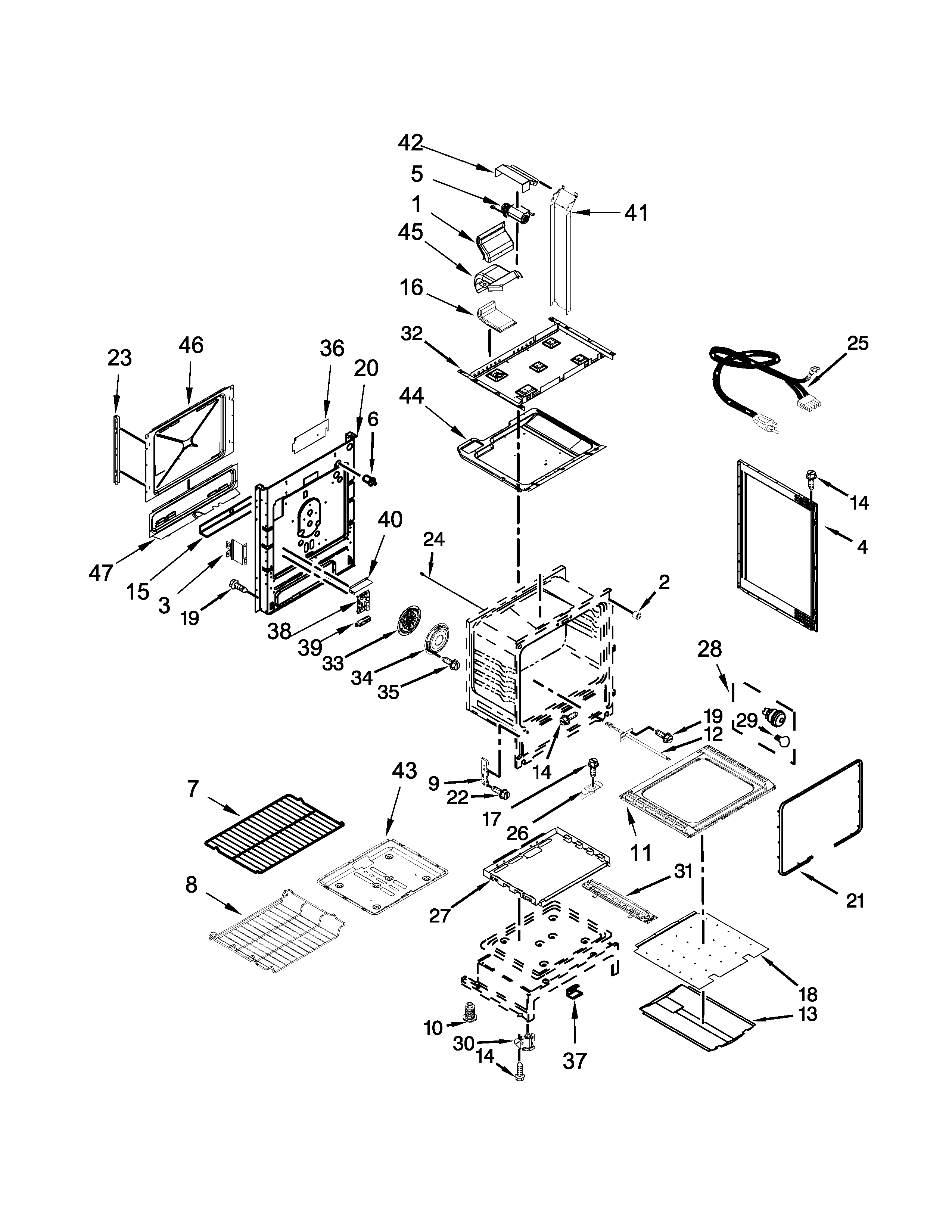 Whirlpool WEG730H0DS0 chassis parts diagram
