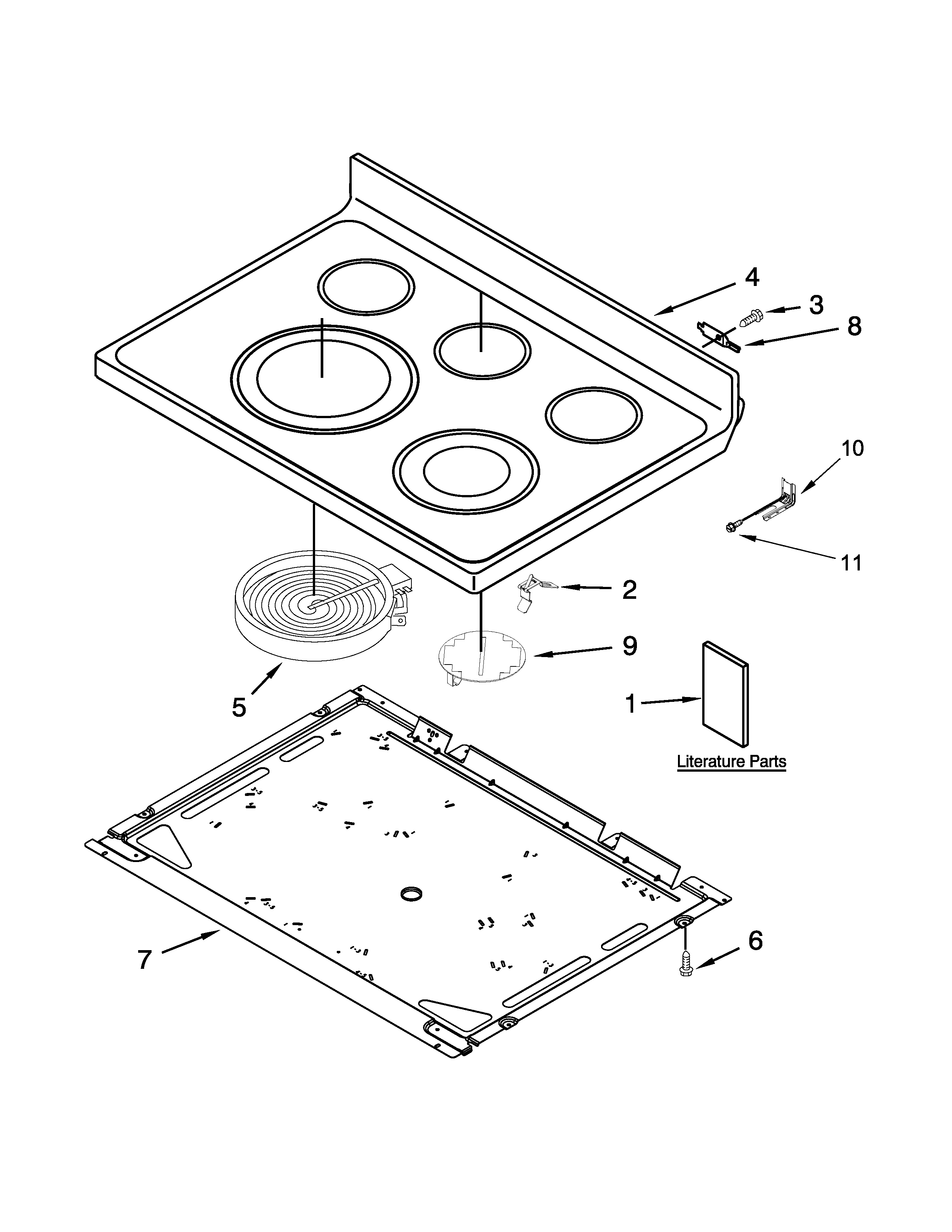 Whirlpool WFE710H0AS1 cooktop parts diagram