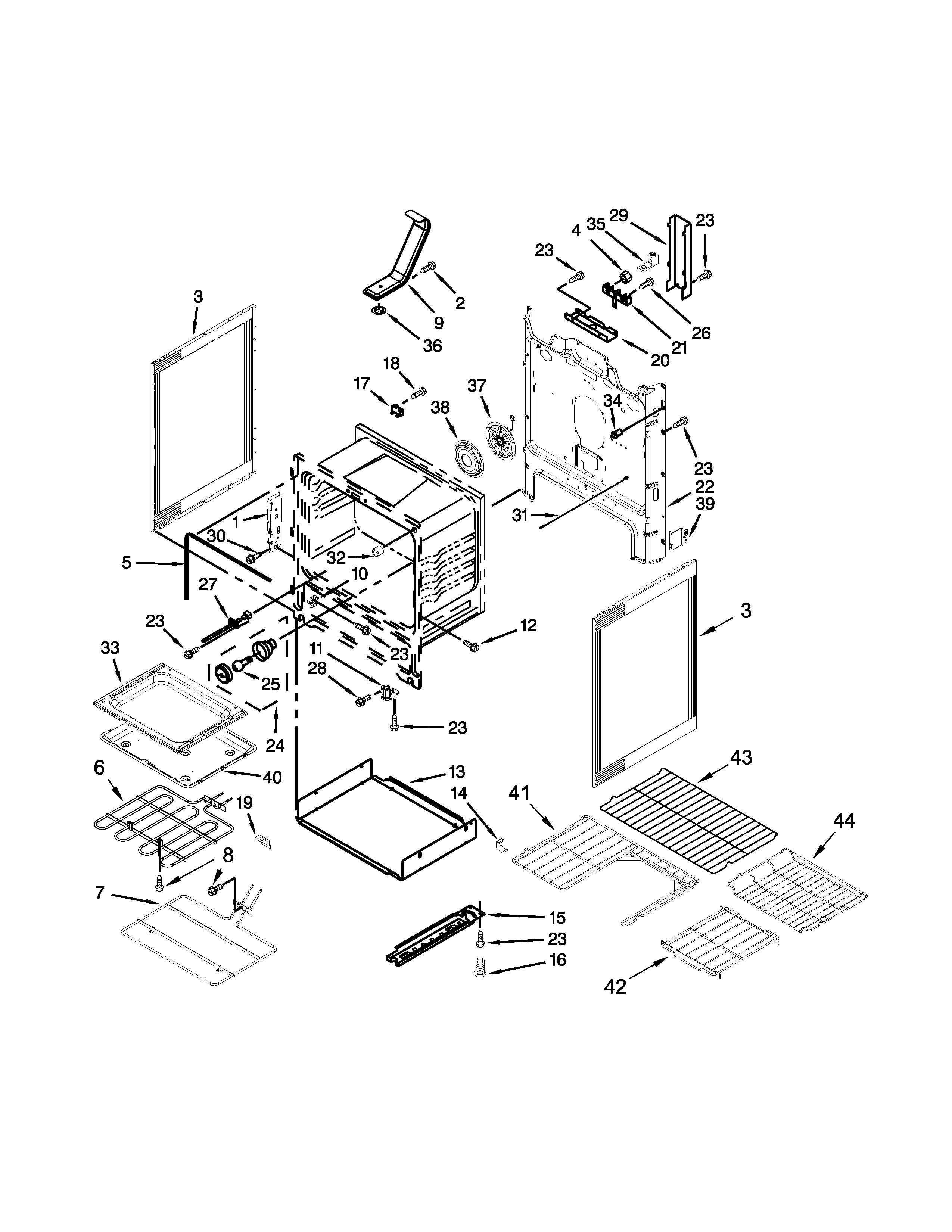 Whirlpool WFE710H0AS1 chassis parts diagram