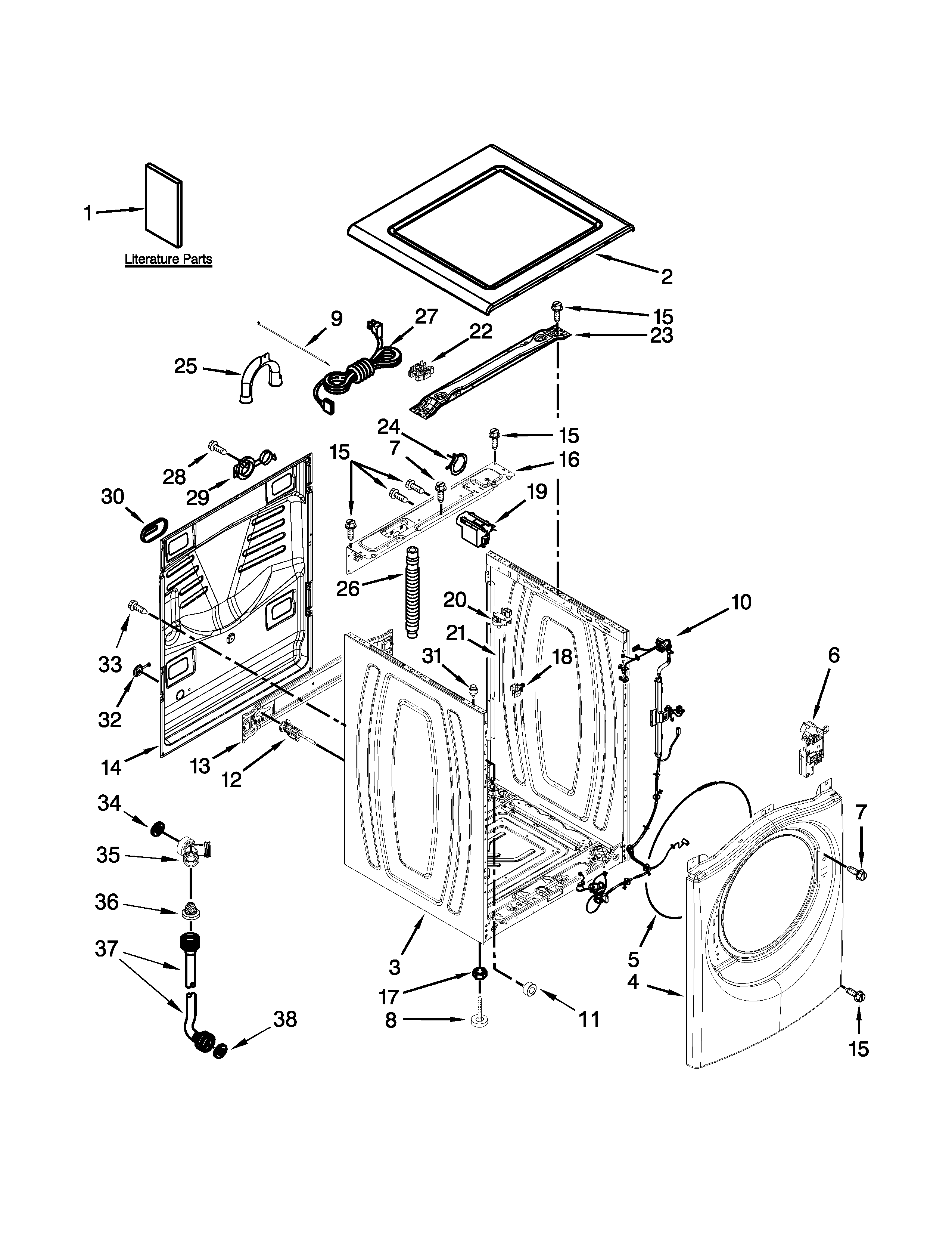 Whirlpool 7MWFW72HEDW0 top and cabinet parts diagram