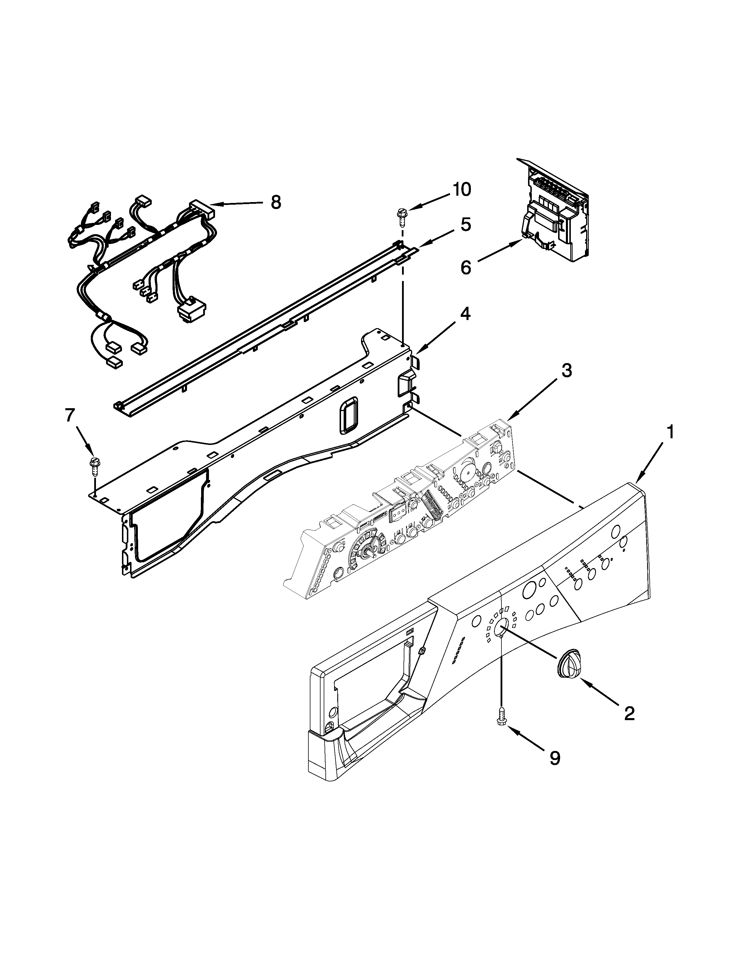 Whirlpool WFW8300SW02 control panel parts diagram