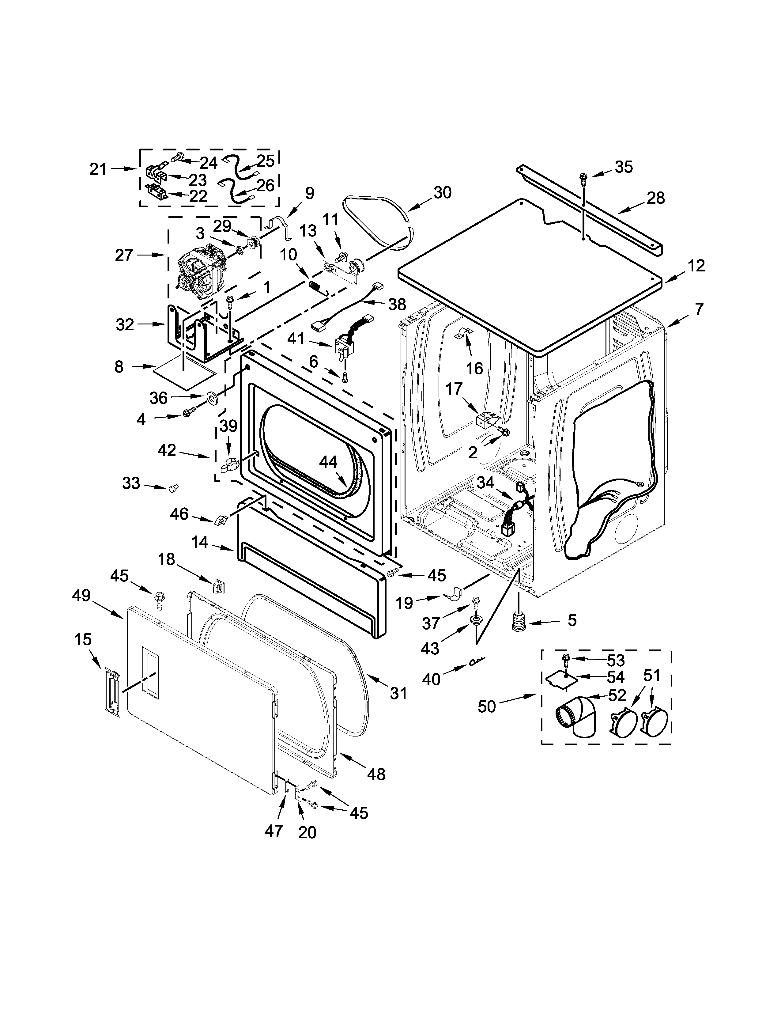 Maytag MLE26PDBZW0 upper cabinet and front panel parts diagram