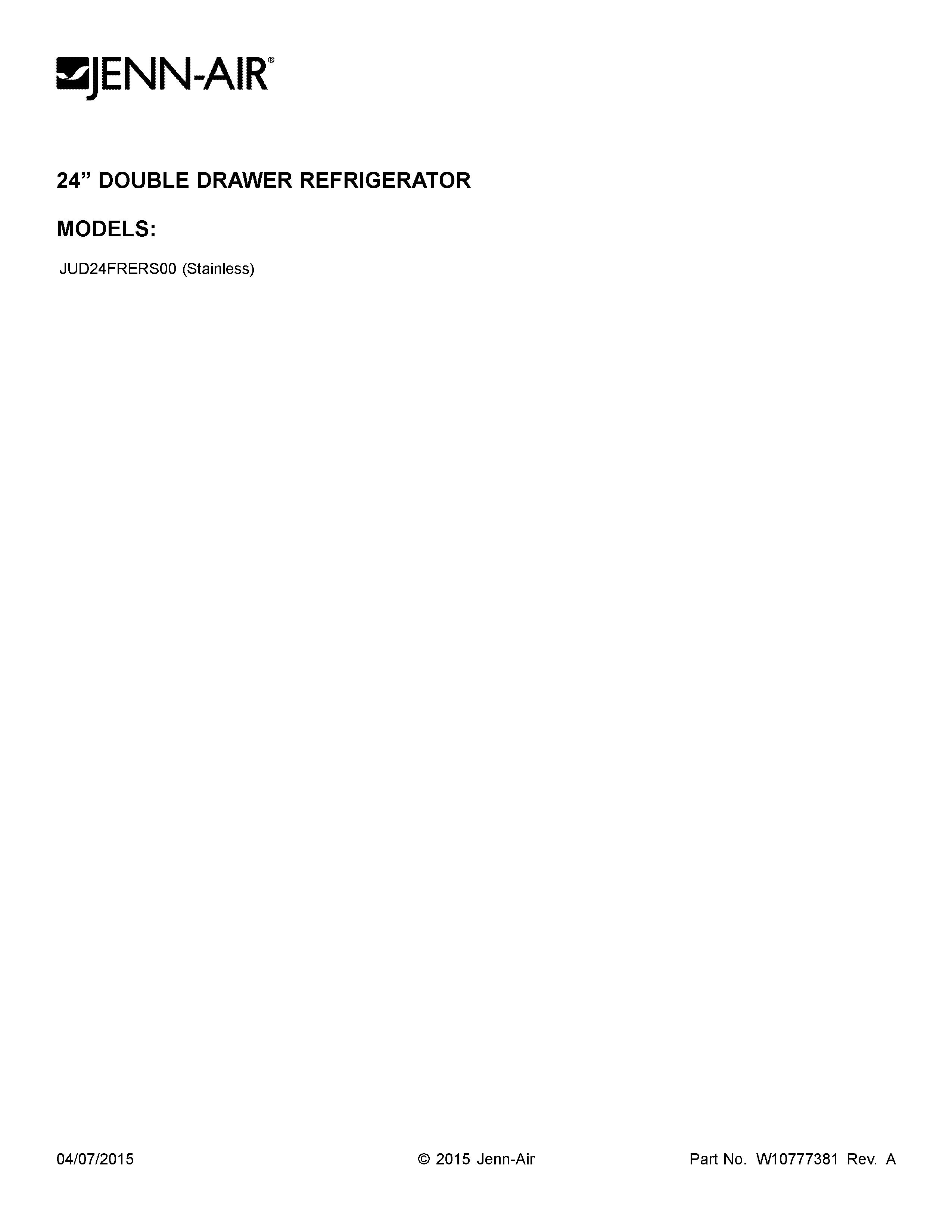 Jenn-Air  Drawer  Cover sheet