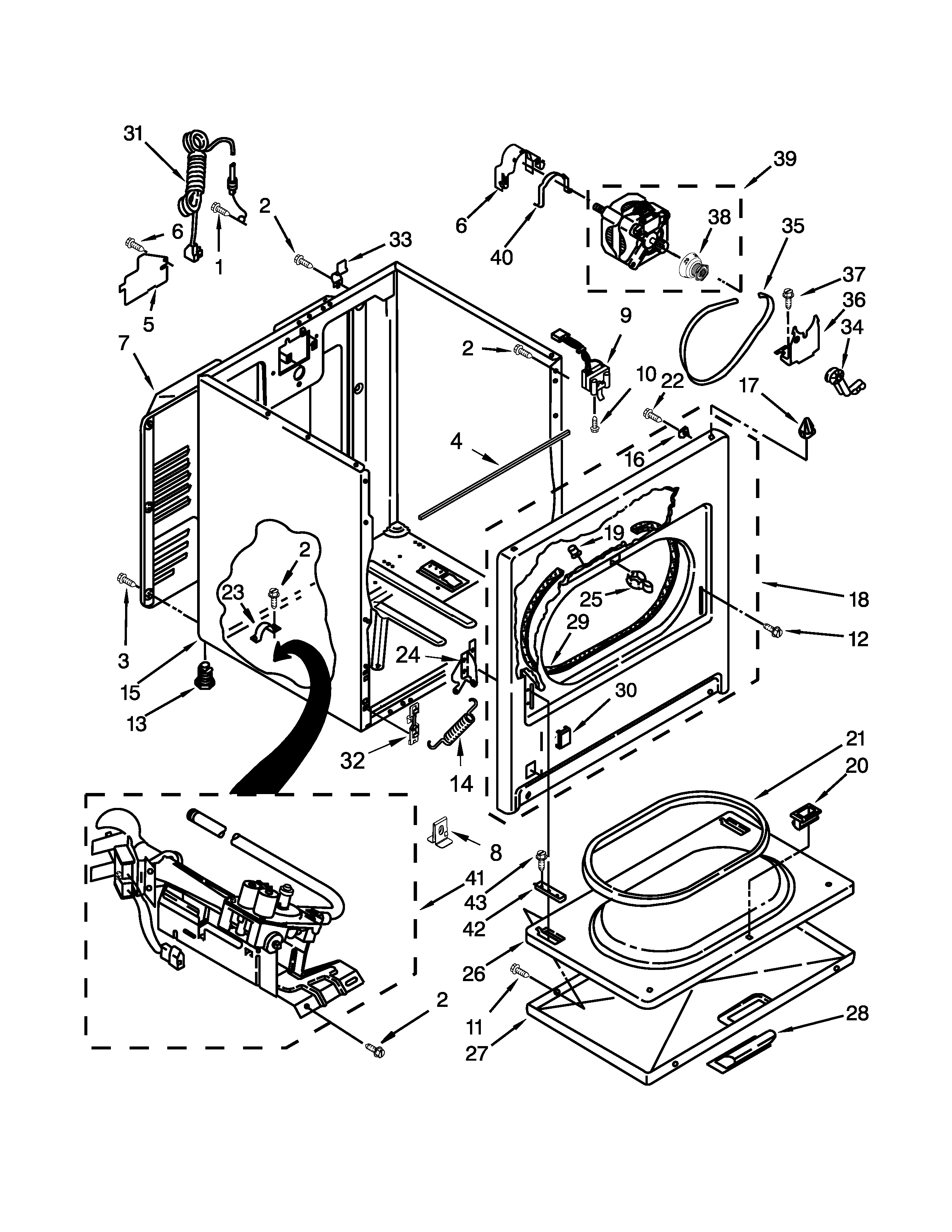 Whirlpool WGD5000DW2 cabinet parts diagram