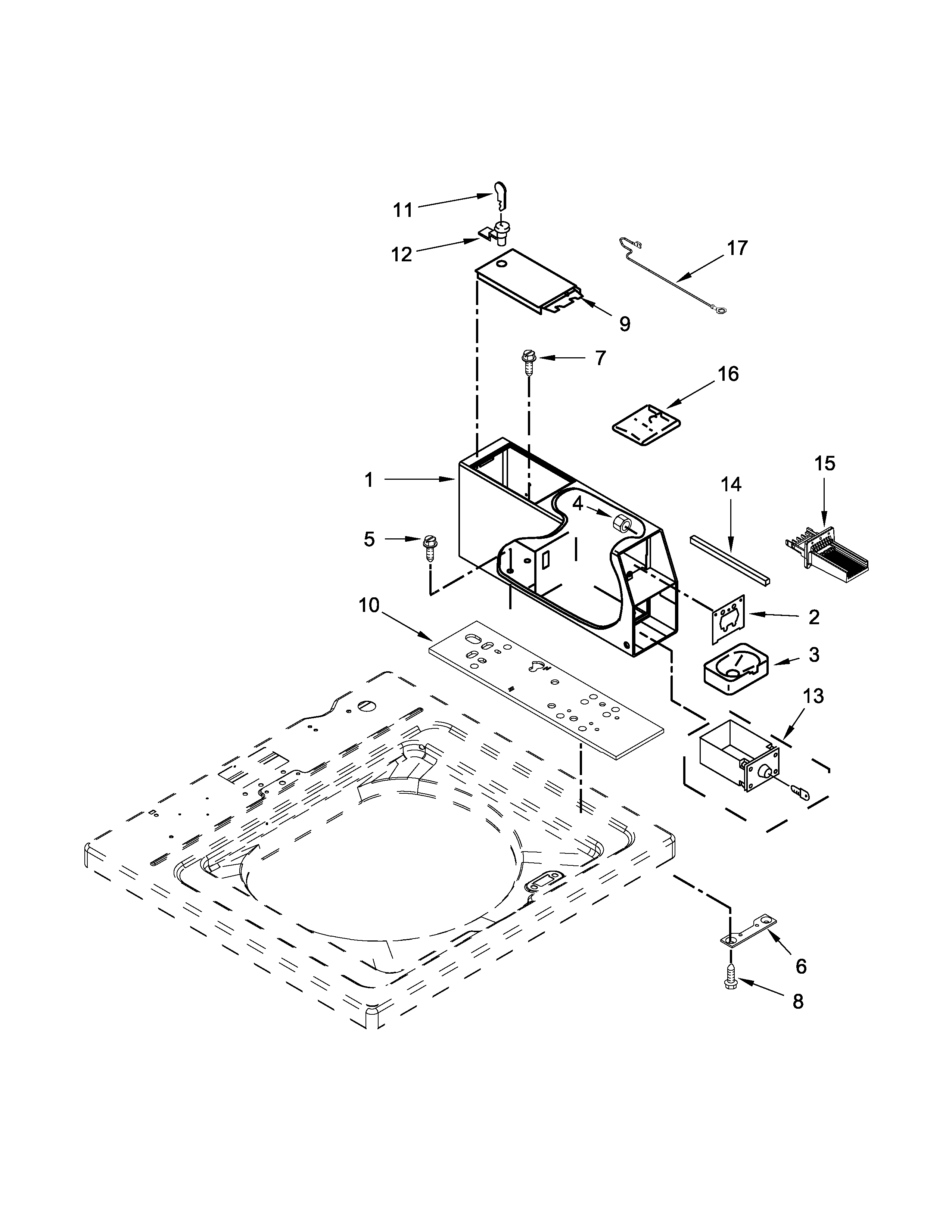 Whirlpool CAE2743BQ0 meter case parts diagram