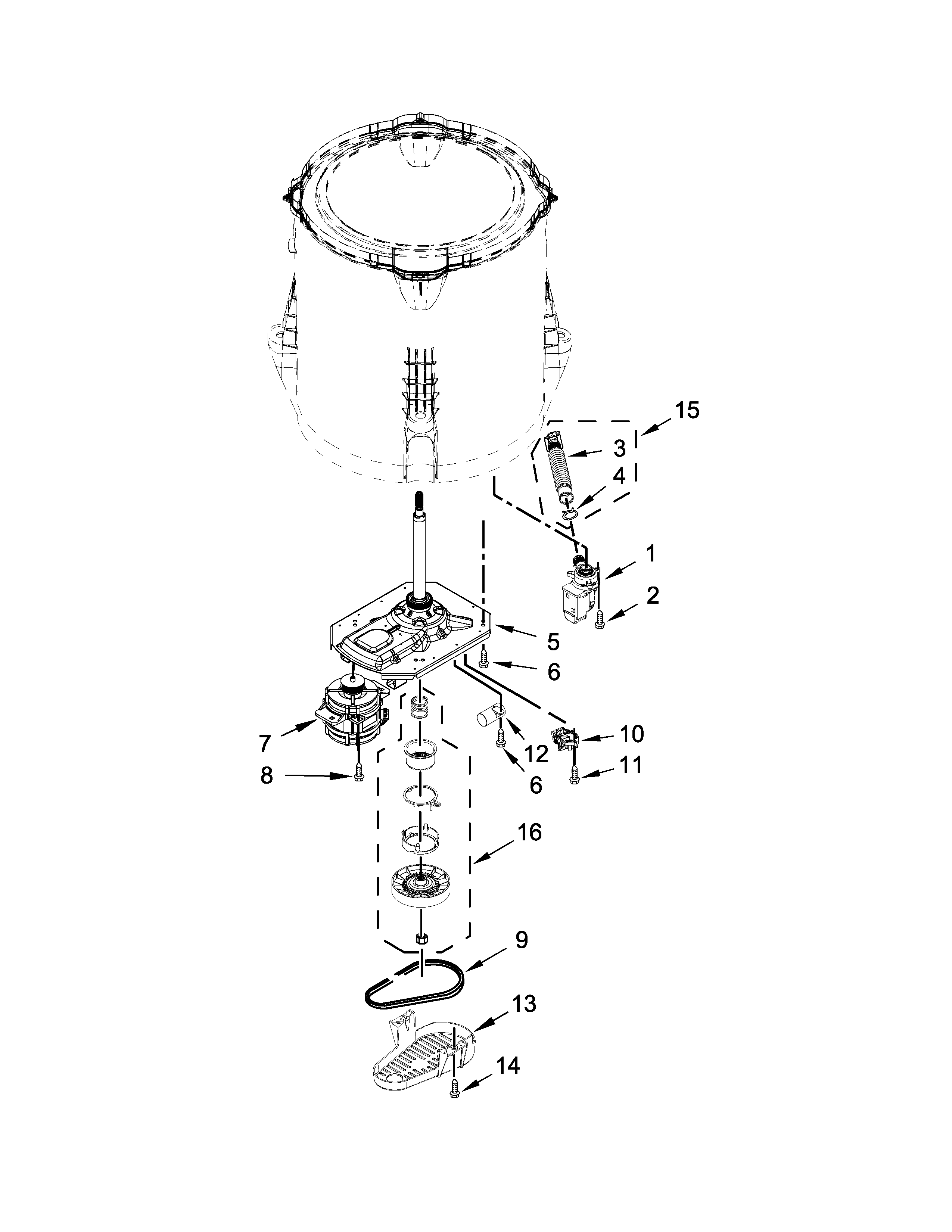 Whirlpool CAE2743BQ0 gearcase, motor and pump parts diagram
