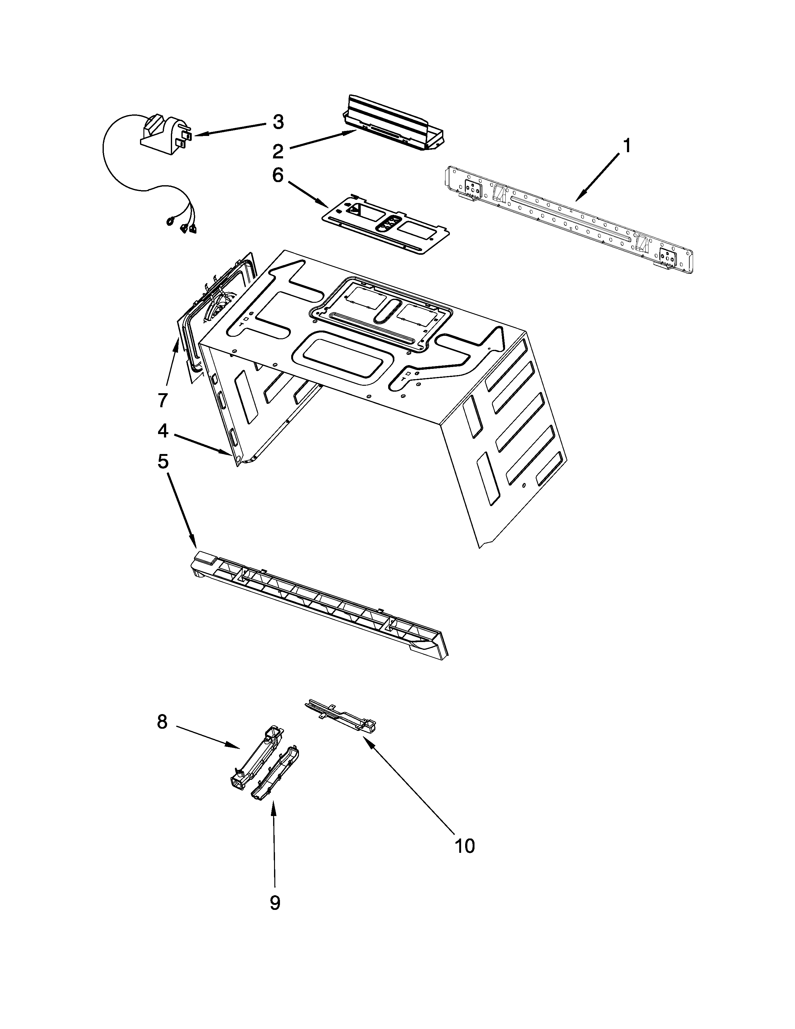 Whirlpool WMH76719CB0 cabinet and installation parts diagram