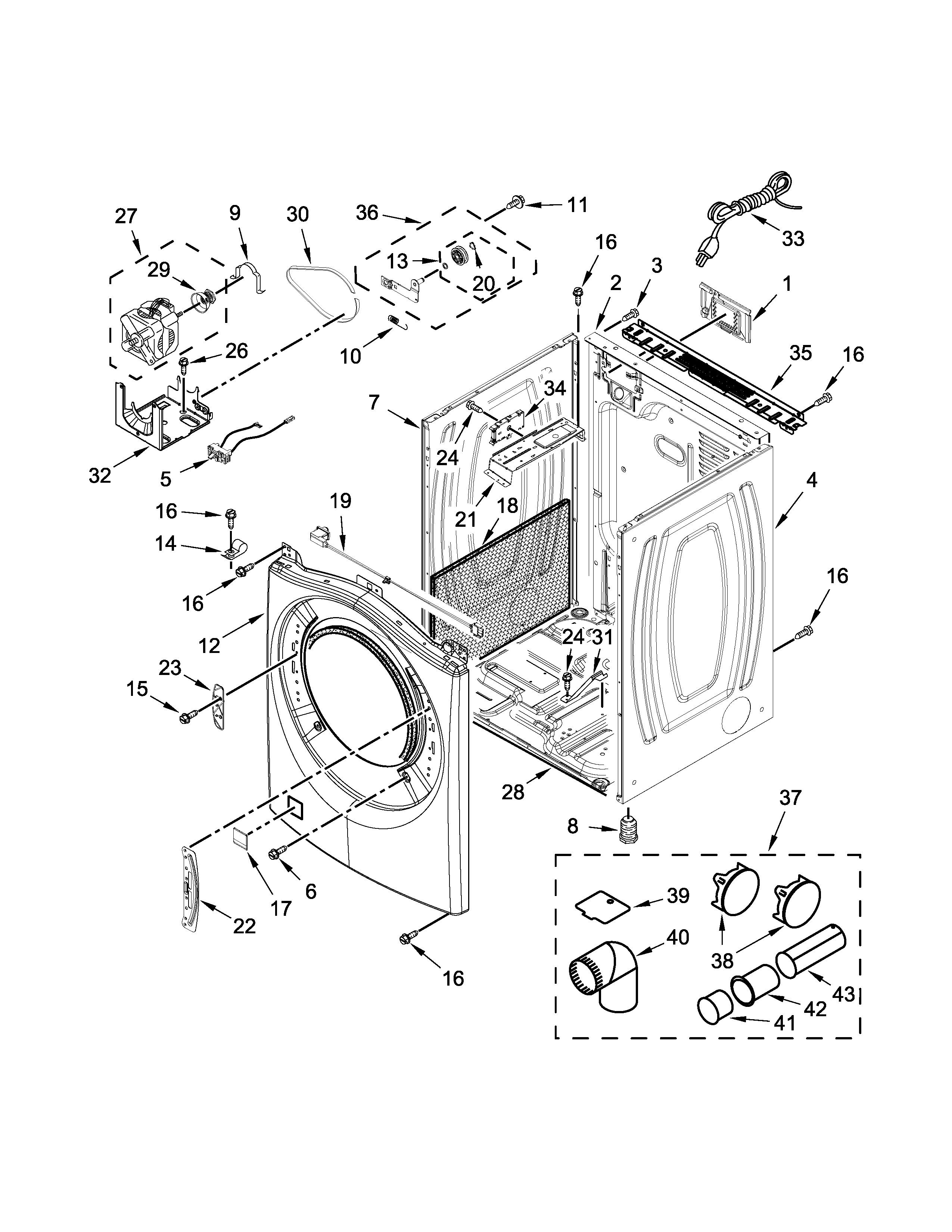 Whirlpool WGD90HEFW0 cabinet parts diagram