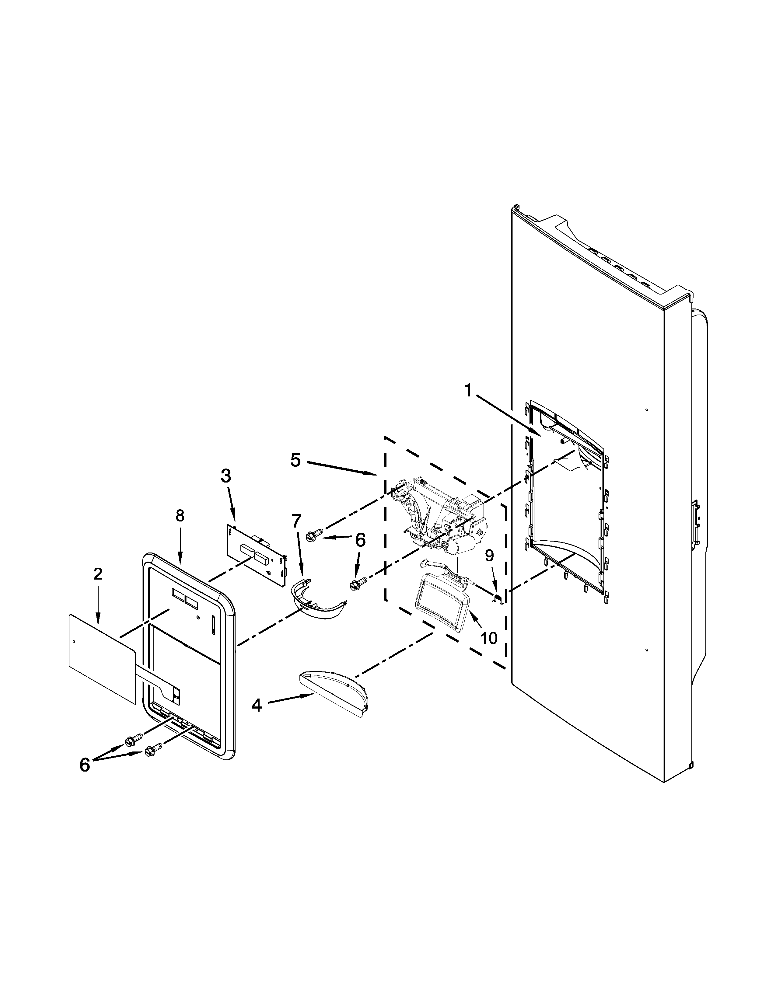 Maytag MFI2269FRE00 dispenser front parts diagram