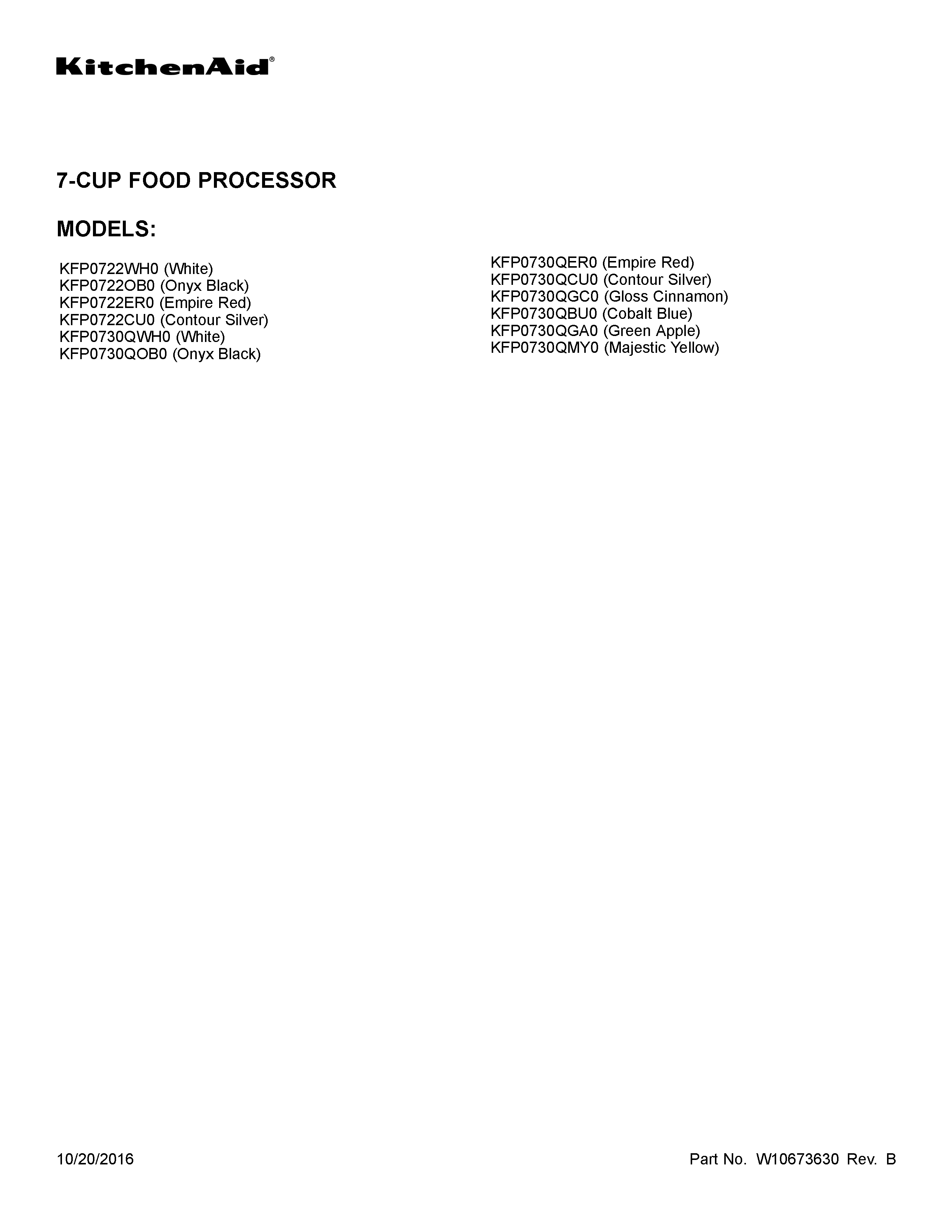 KitchenAid KFP0730QOB0 cover sheet diagram